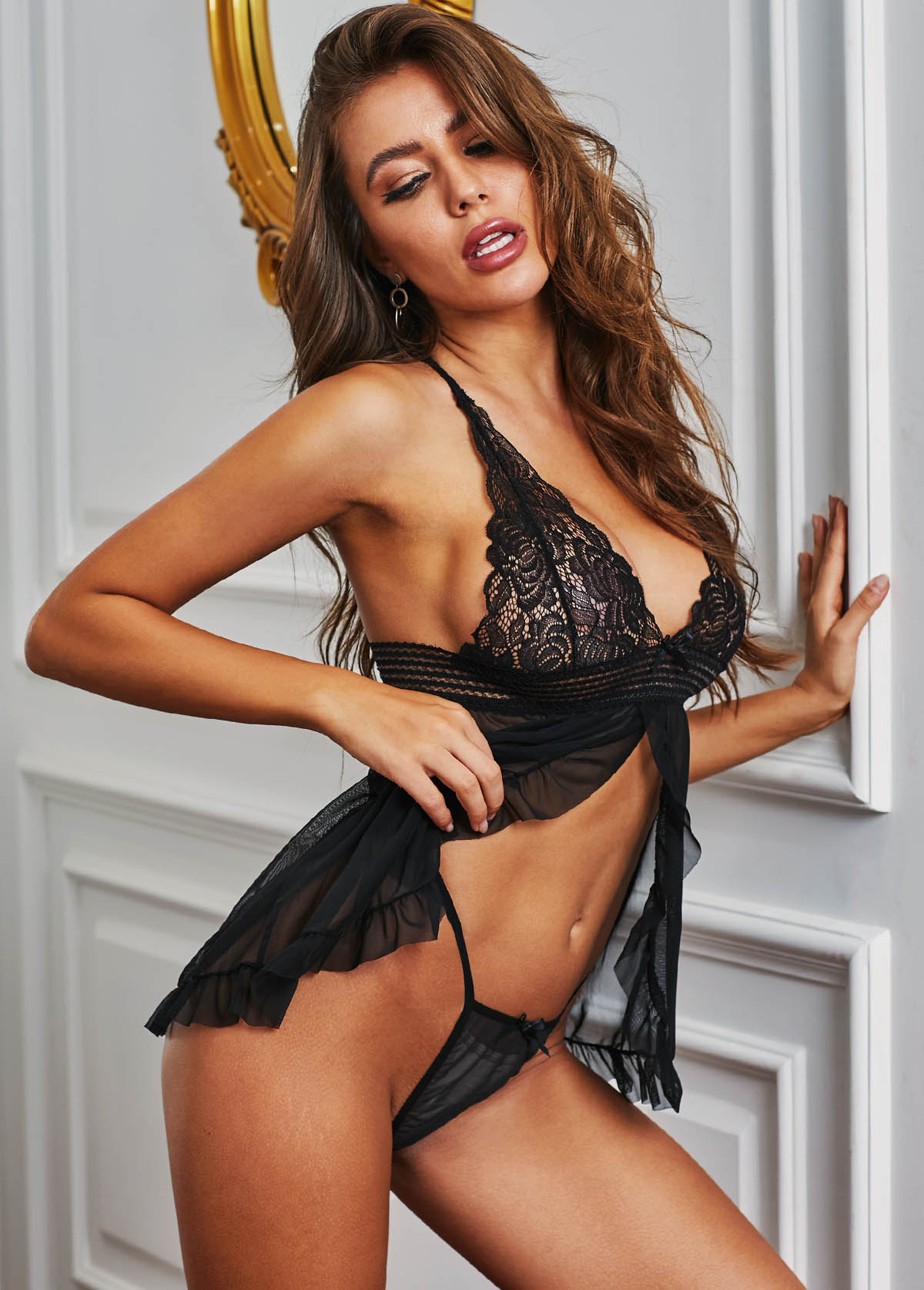 Lace Panel Black Halter Pajama Set