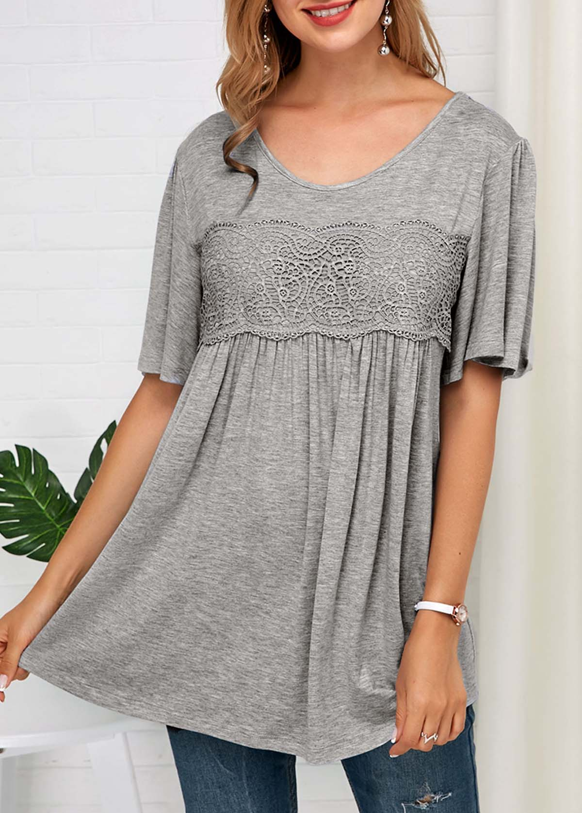 ROTITA Grey Lace Panel Half Sleeve Soft T Shirt
