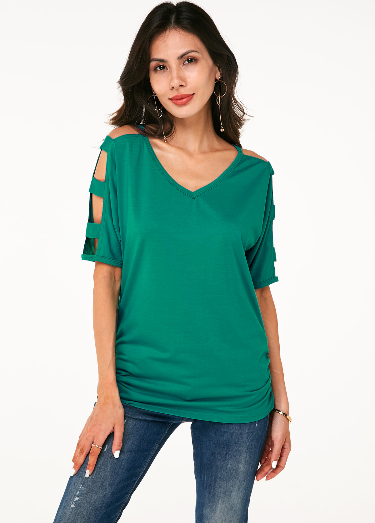 ROTITA V Neck Ladder Cutout Sleeve Soft T Shirt