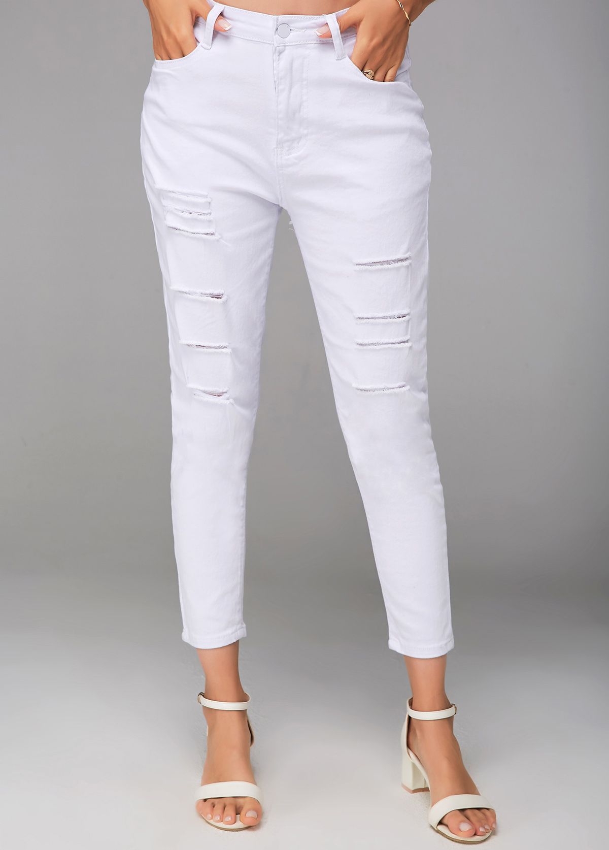 ROTITA White Shredded Cropped Zipper Closure Pants
