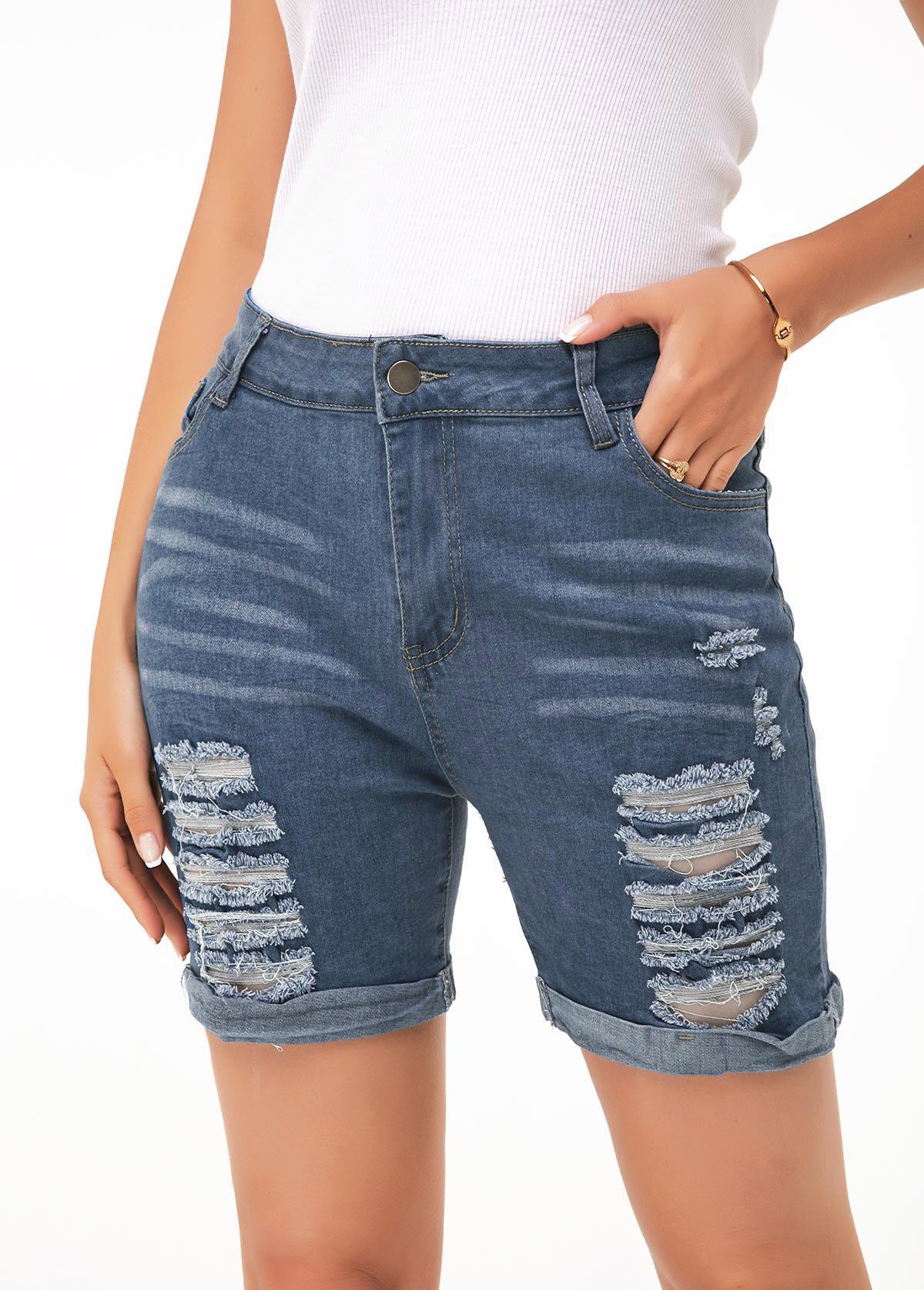 ROTITA Denim Blue Shredded Button Up Shorts