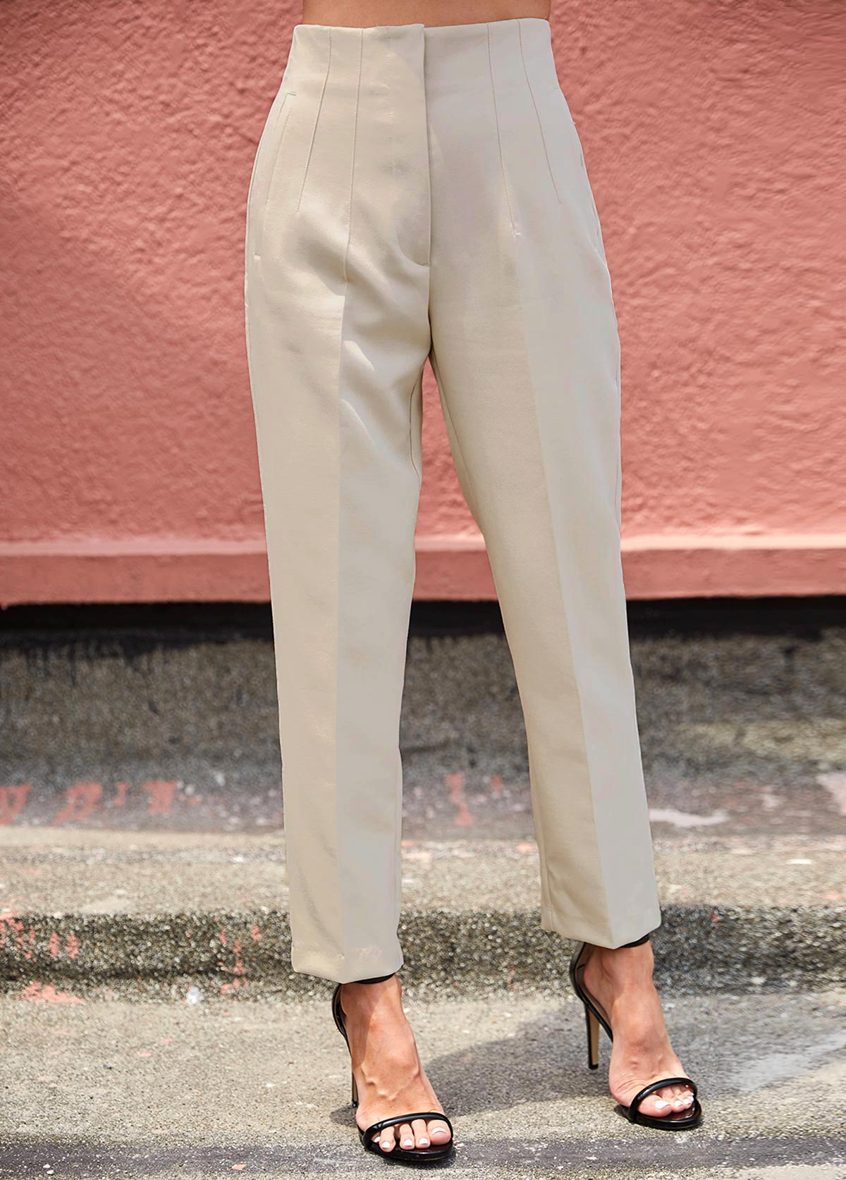 ROTITA High Waist Zipper Fly Beige Pants