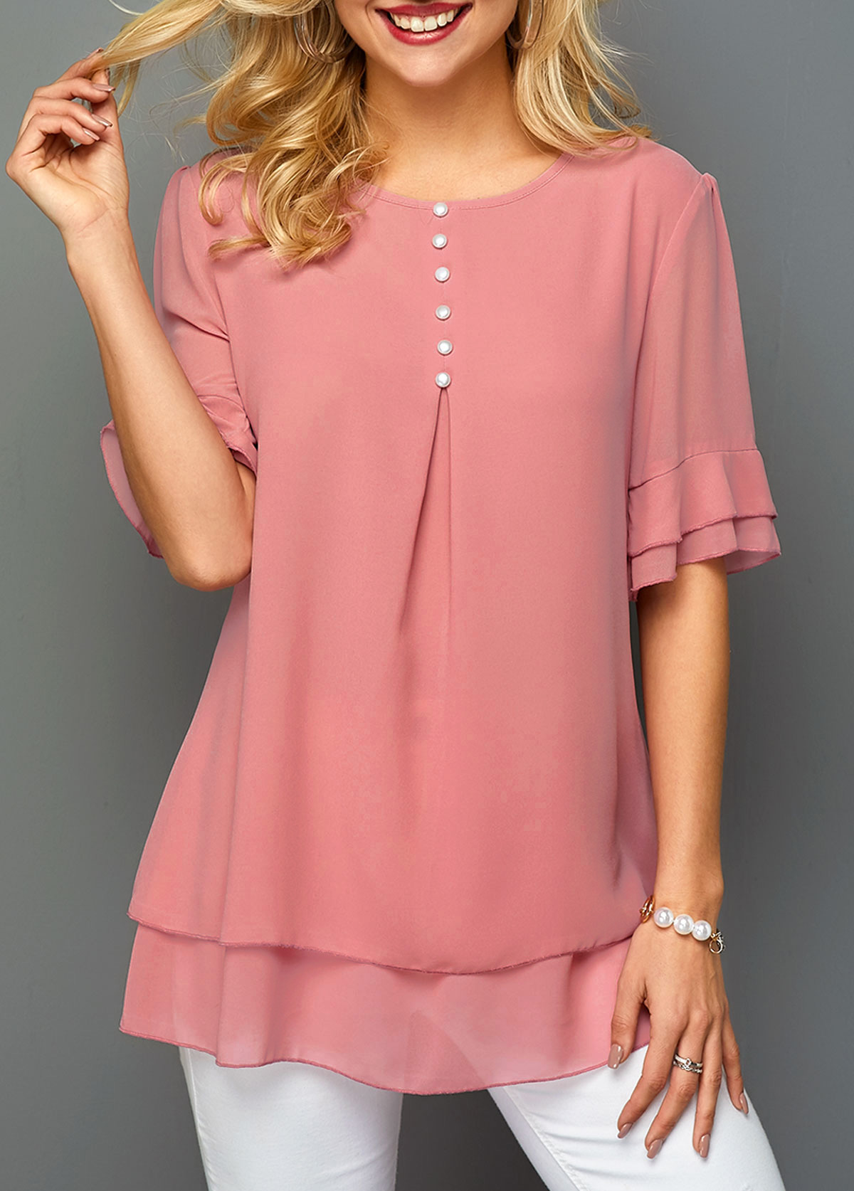 ROTITA Half Sleeve Layered Hem Round Neck Chiffon Blouse
