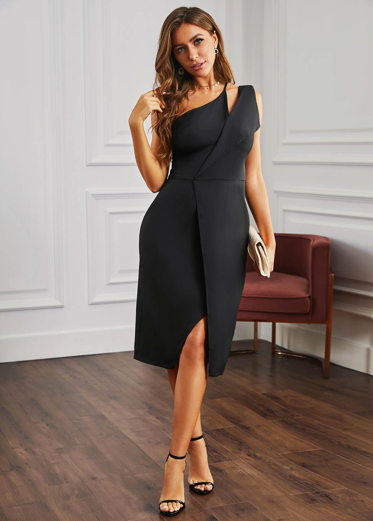 ROTITA Slit Hem One Shoulder Black Dress