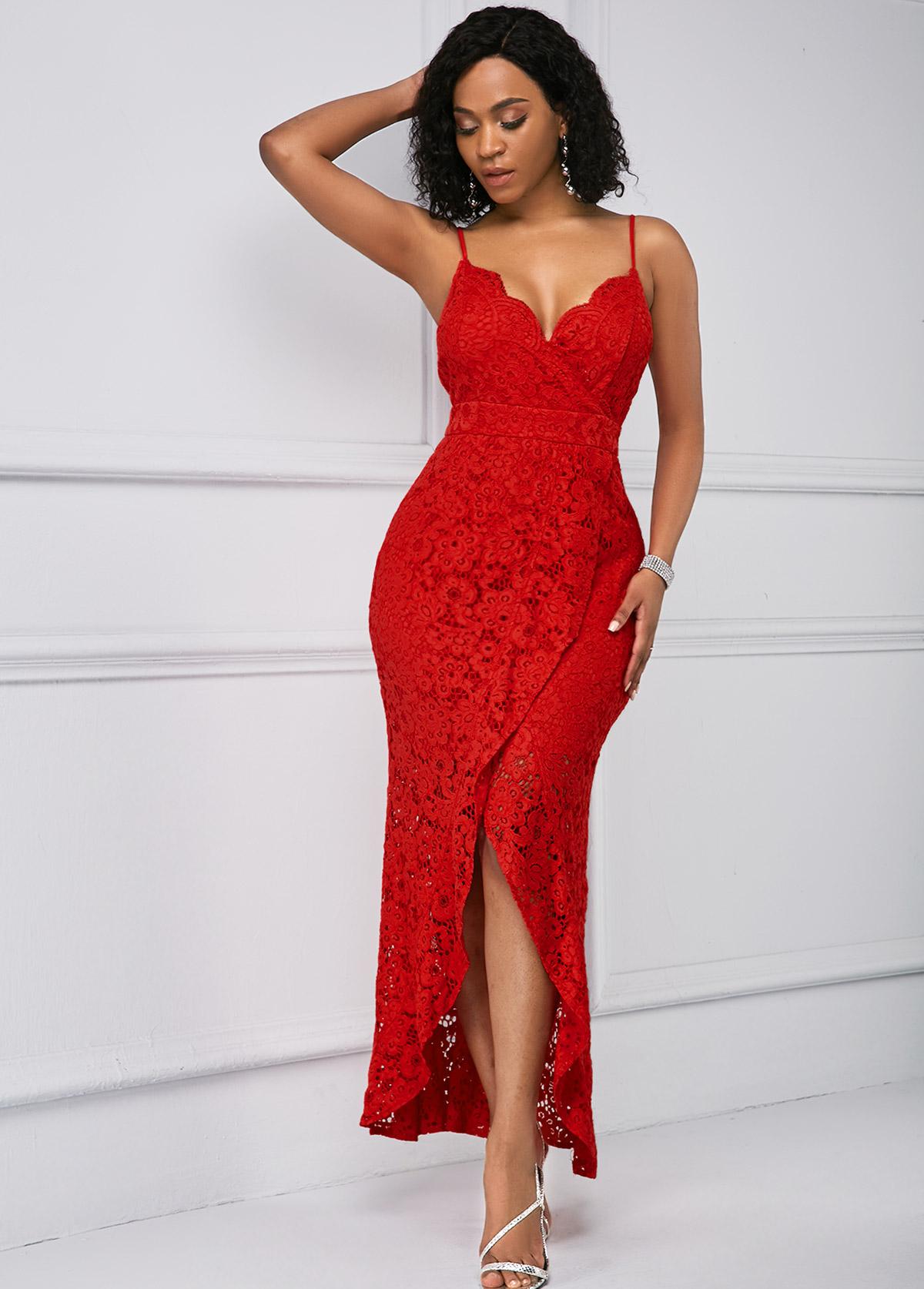 ROTITA High Split Red Lace Panel Spaghetti Straps Dress