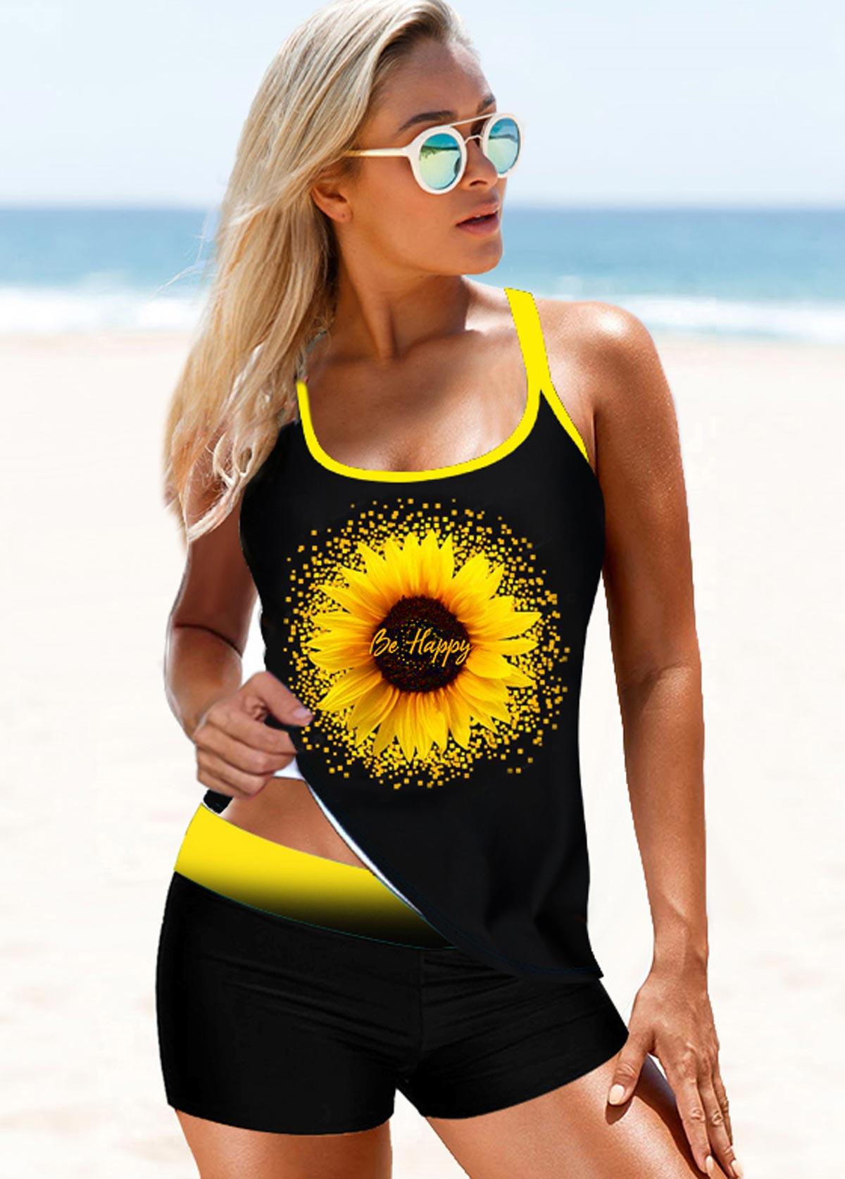 ROTITA Sunflower Print Strappy Back Black Tankini Set