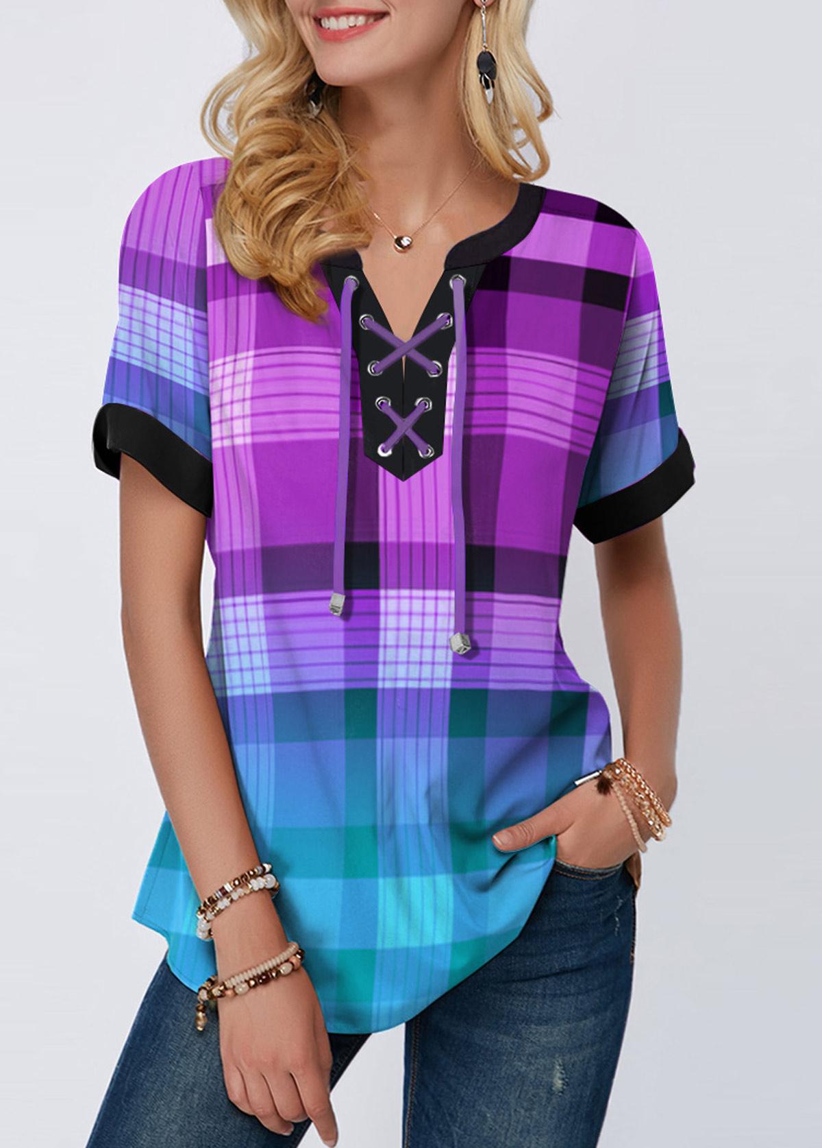 Short Sleeve Plaid Print Lace Up Blouse