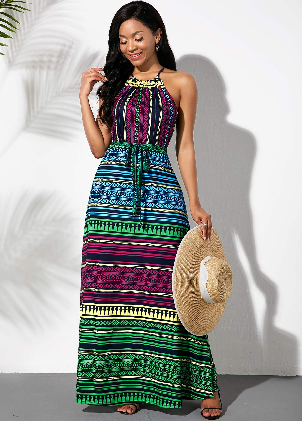 ROTITA Bowknot Sash Multicolor Striped Dress