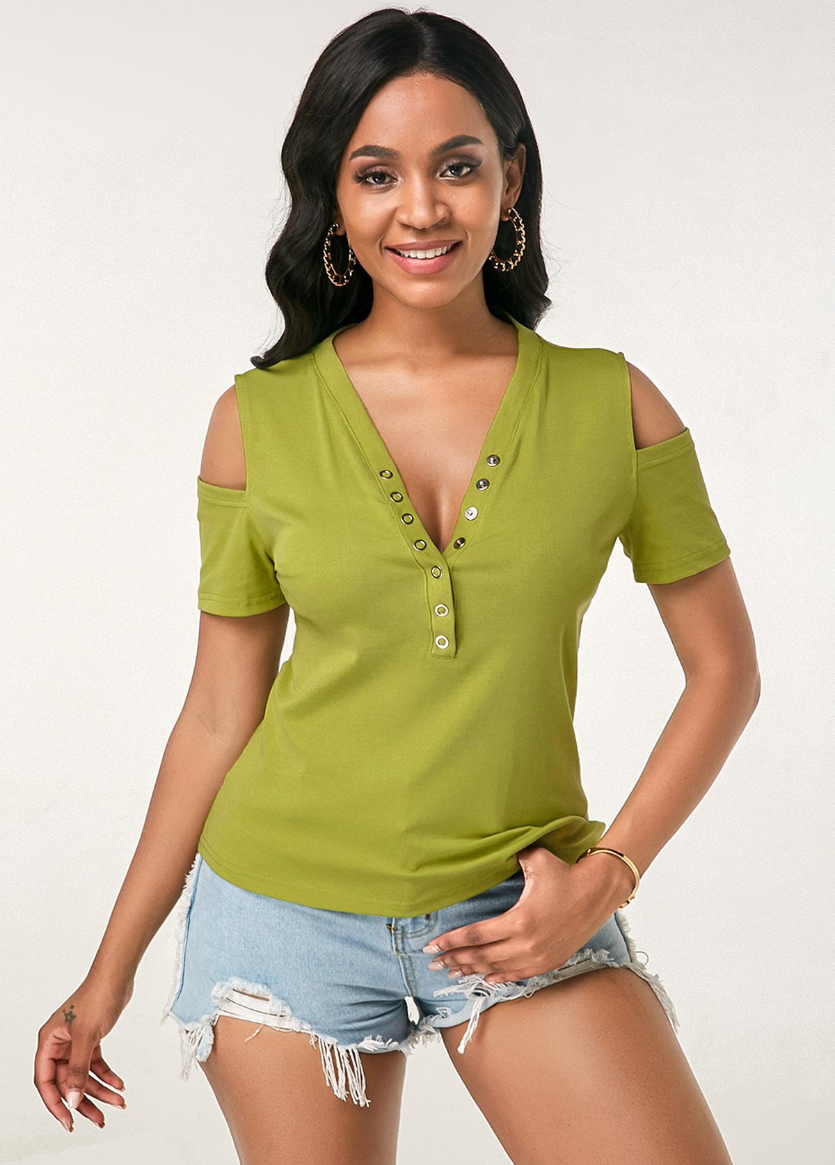 ROTITA Cold Shoulder V Neck Single Breasted Green T Shirt