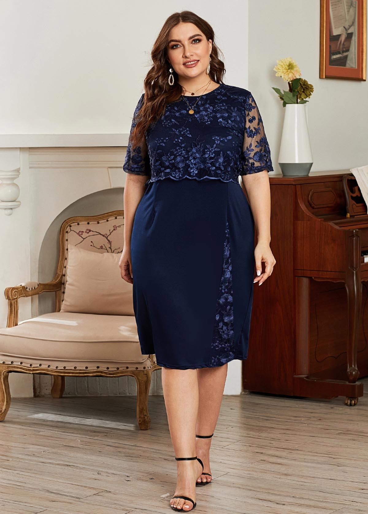 ROTITA Plus Size Half Sleeve Lace Panel Dress