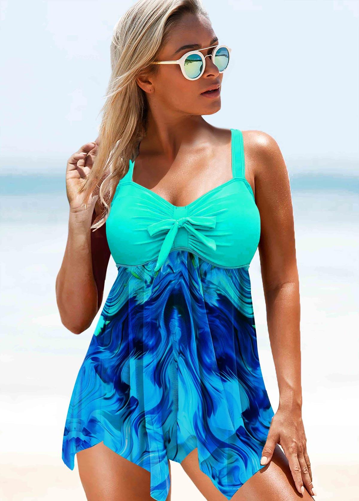 ROTITA Printed Bowknot Asymmetric Hem Mint Green Swimwear Top