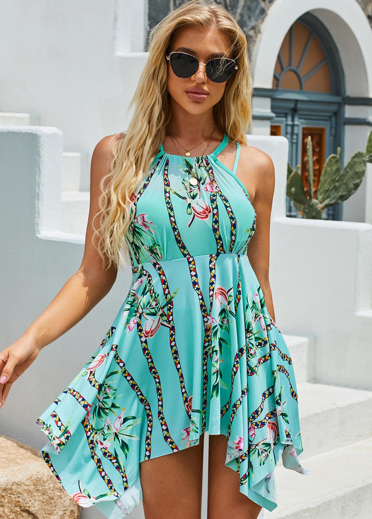 ROTITA Halter Hanky Hem Flower Print Cyan Swimdress and Shorts