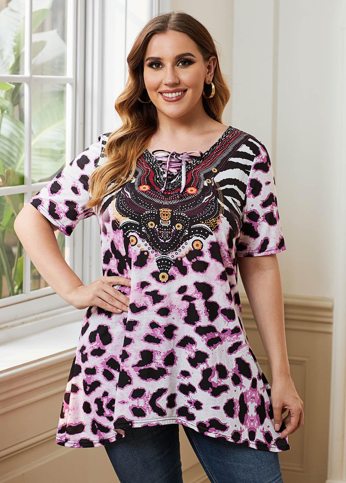 ROTITA Plus Size Lace Leopard Print Up Blouse