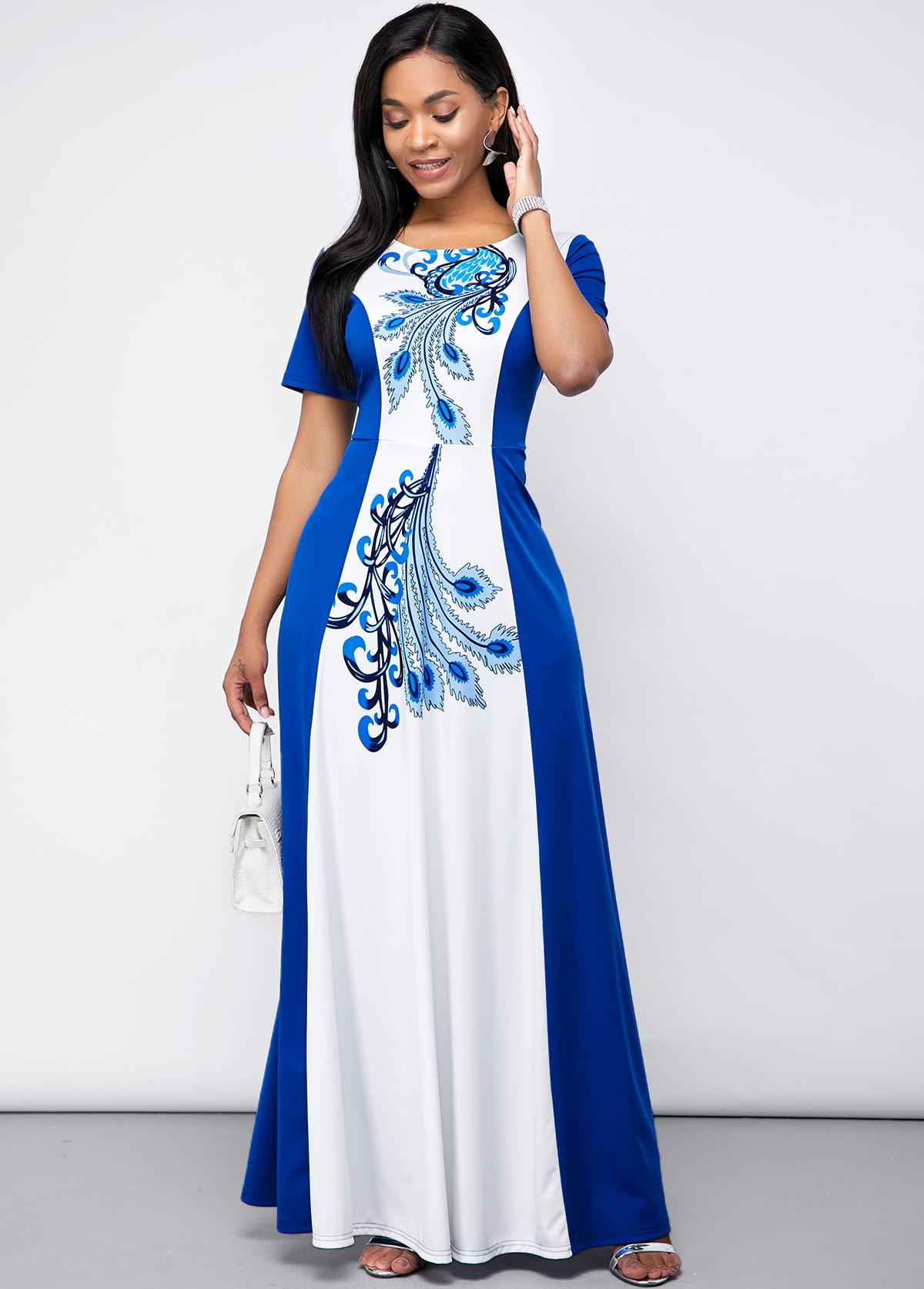 ROTITA Round Neck Color Block Feather Print Maxi Dress