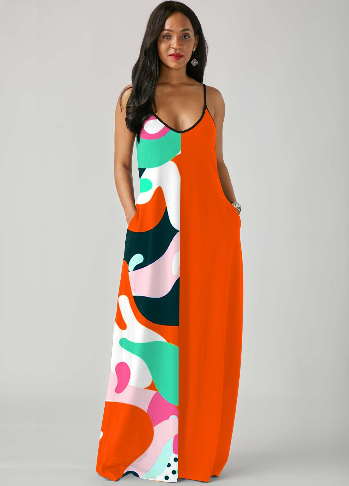 ROTITA Printed Spaghetti Strap Side Pocket Maxi Dress