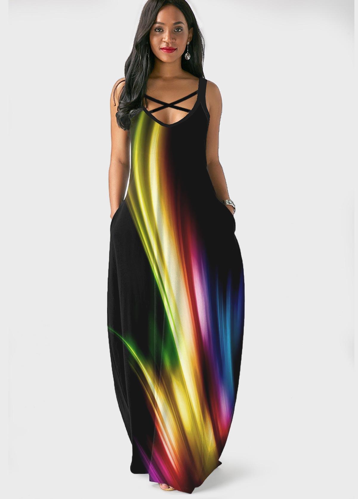 ROTITA Printed Spaghetti Strap Side Pocket Maxi Dress