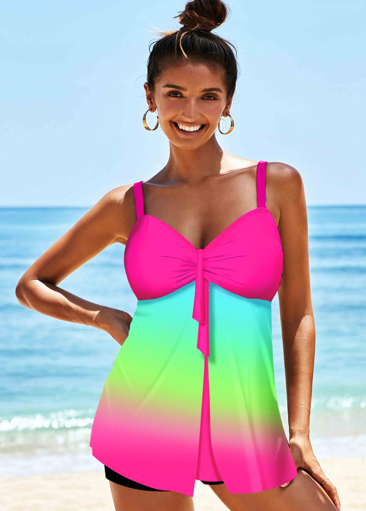 ROTITA Spaghetti Strap Rainbow Color Printed Tankini Set