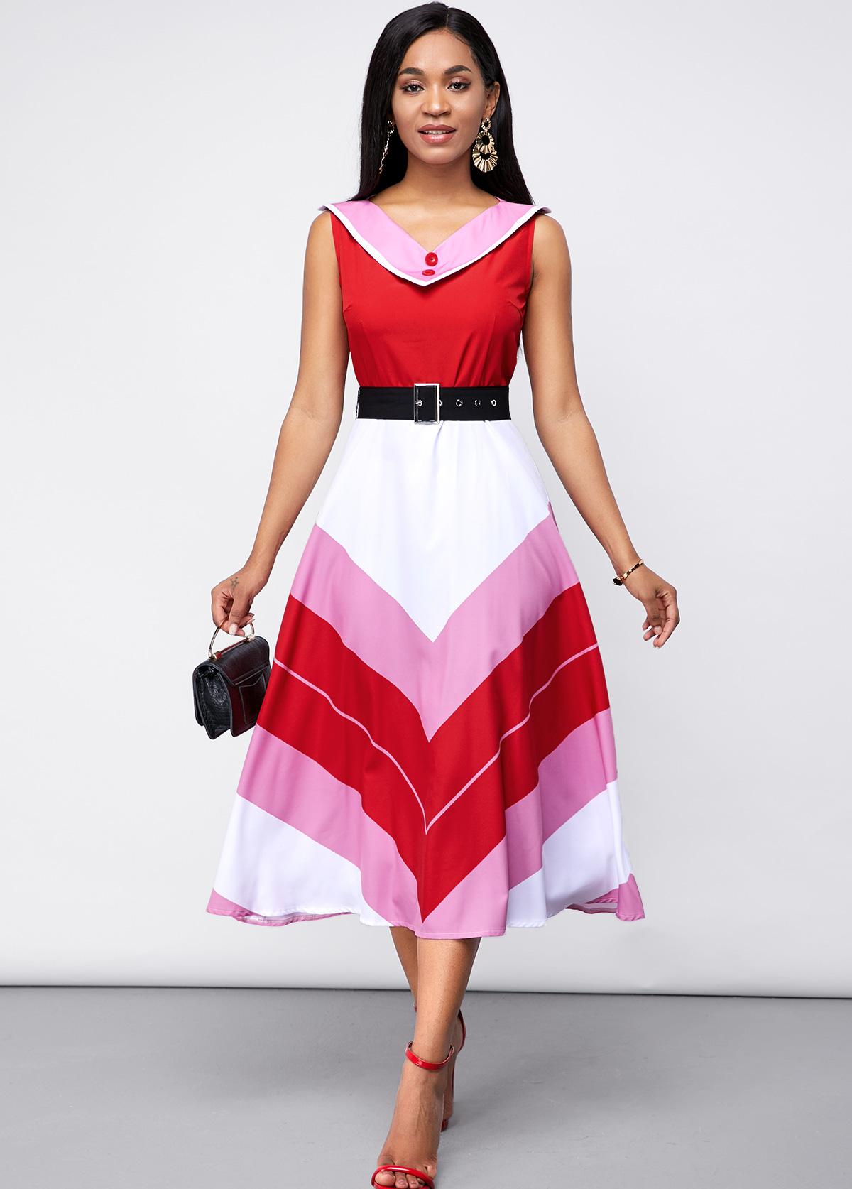 ROTITA Contrast Belted Sleeveless Chevron Print Dress