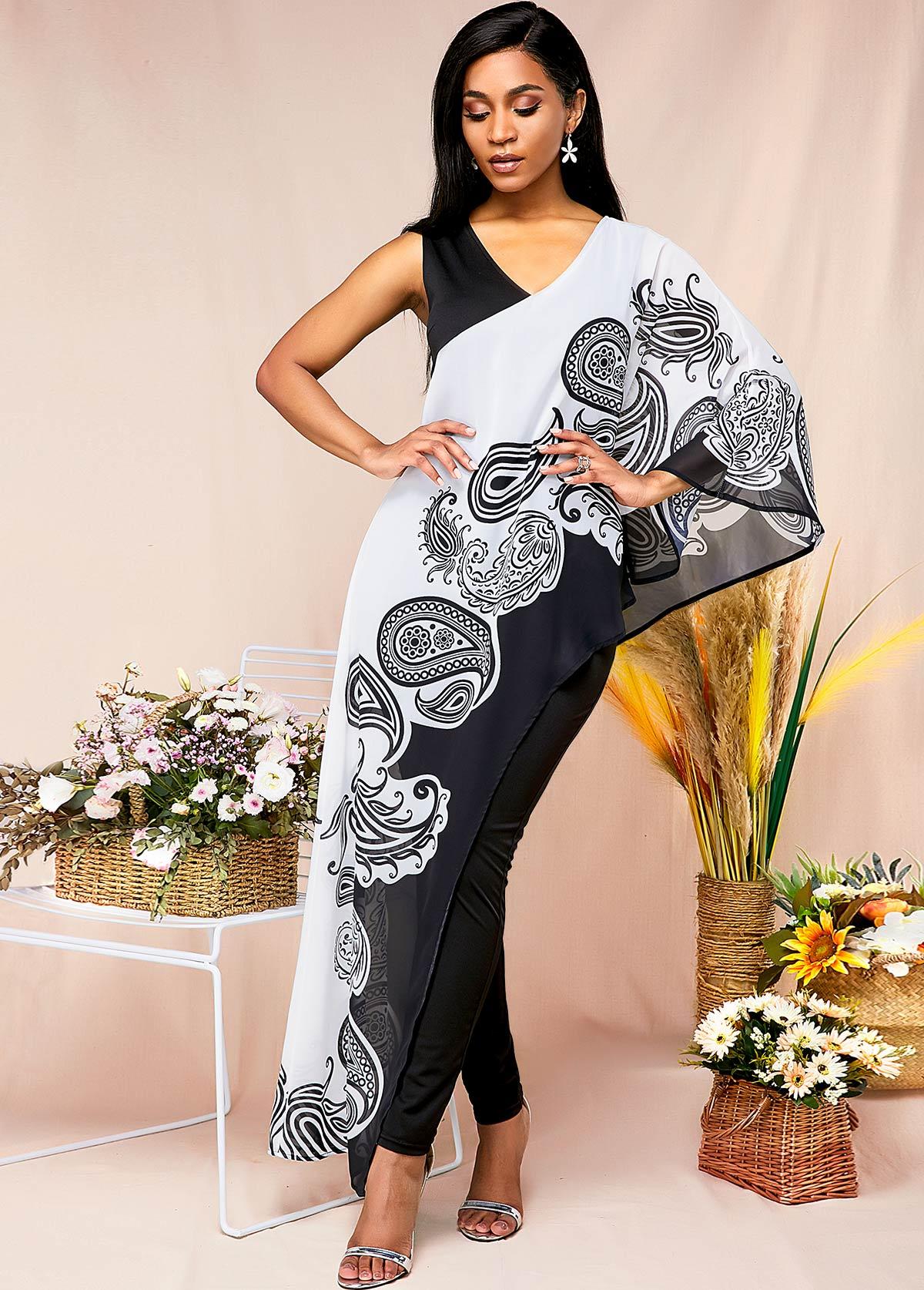 ROTITA Cape Sleeve Paisley Print Boho Vibe Jumpsuit