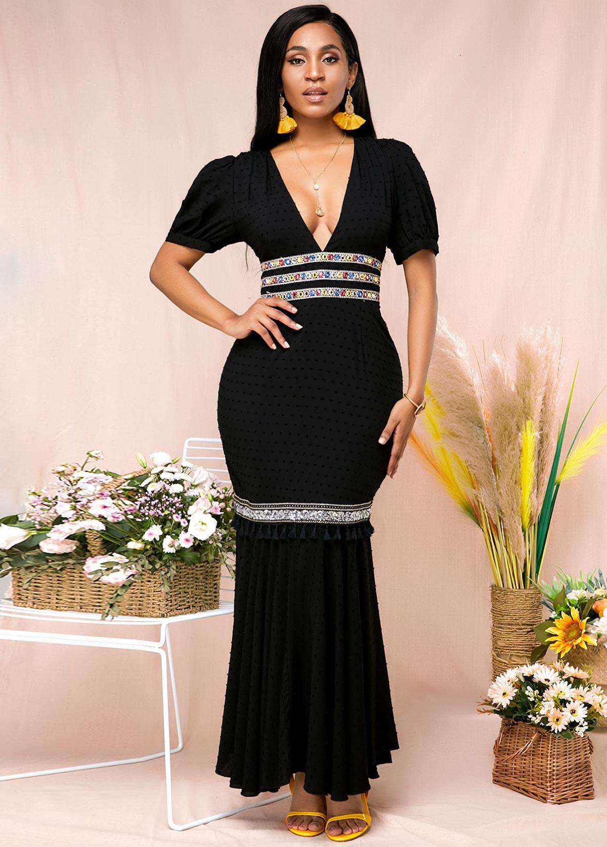 ROTITA V Neck Maxi Elegant Half Sleeve Black Mermaid Dress