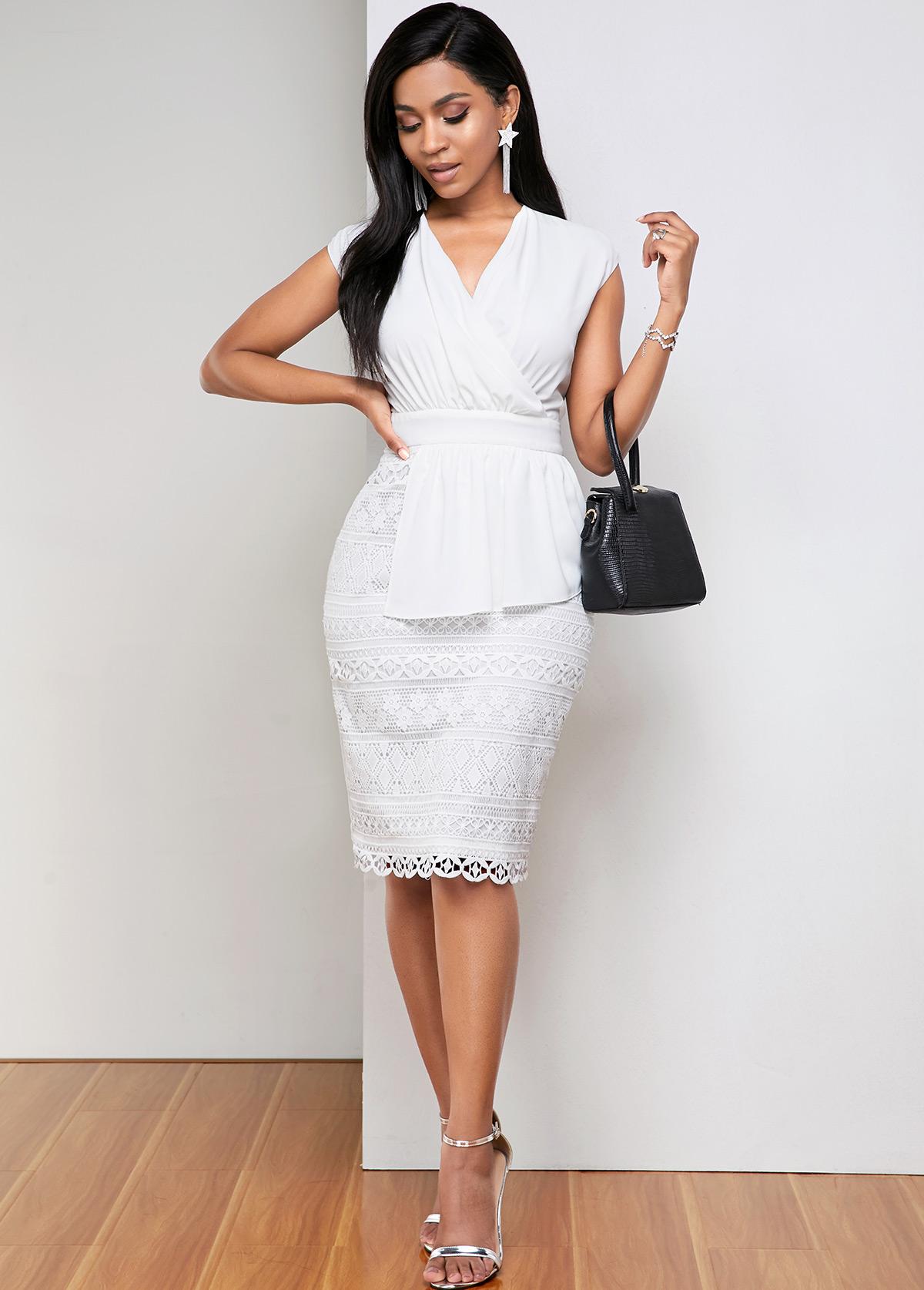 ROTITA Lace White V Neck Retro Geometry Dress