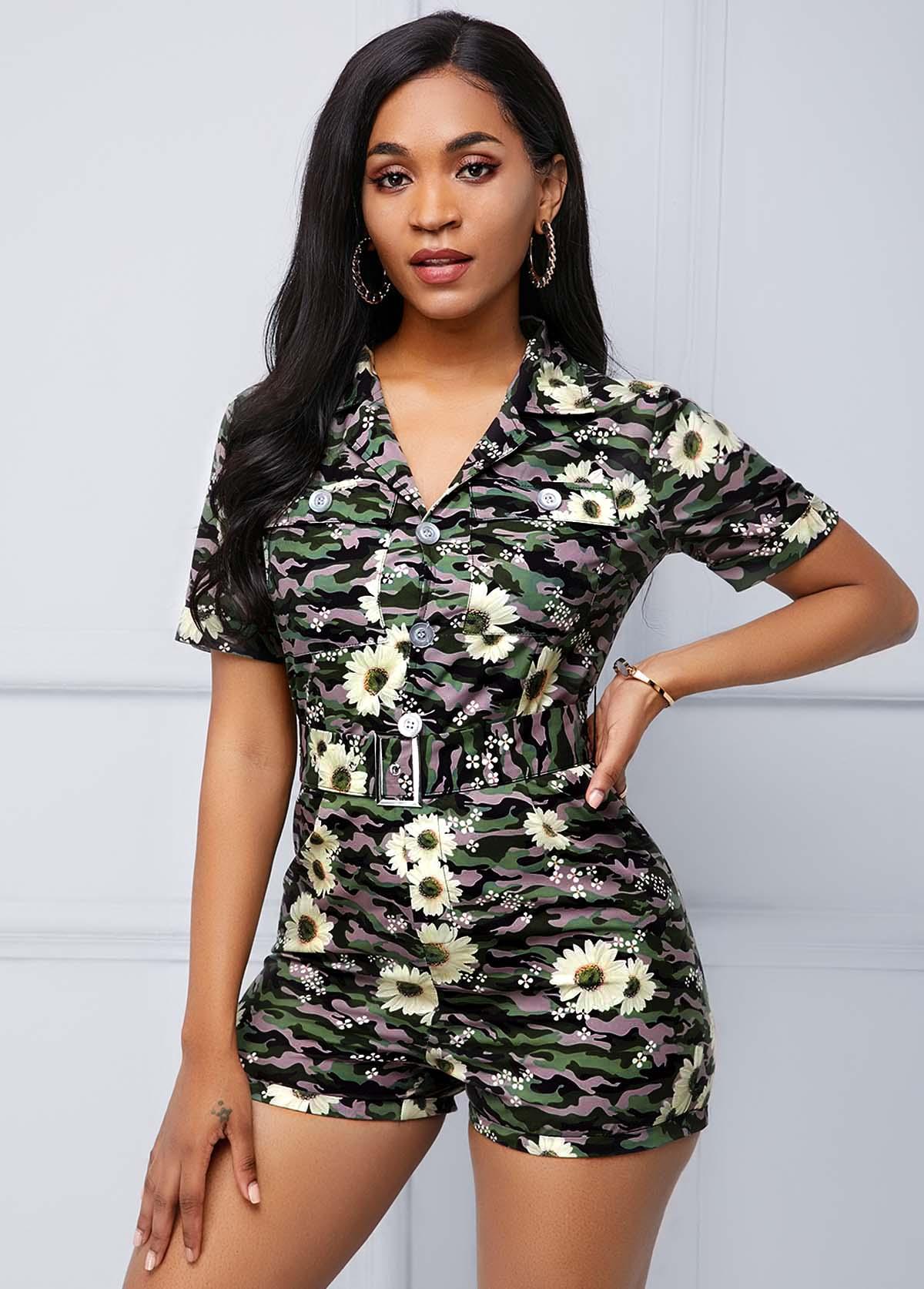 ROTITA Camouflage Print Short Sleeve V Neck Romper