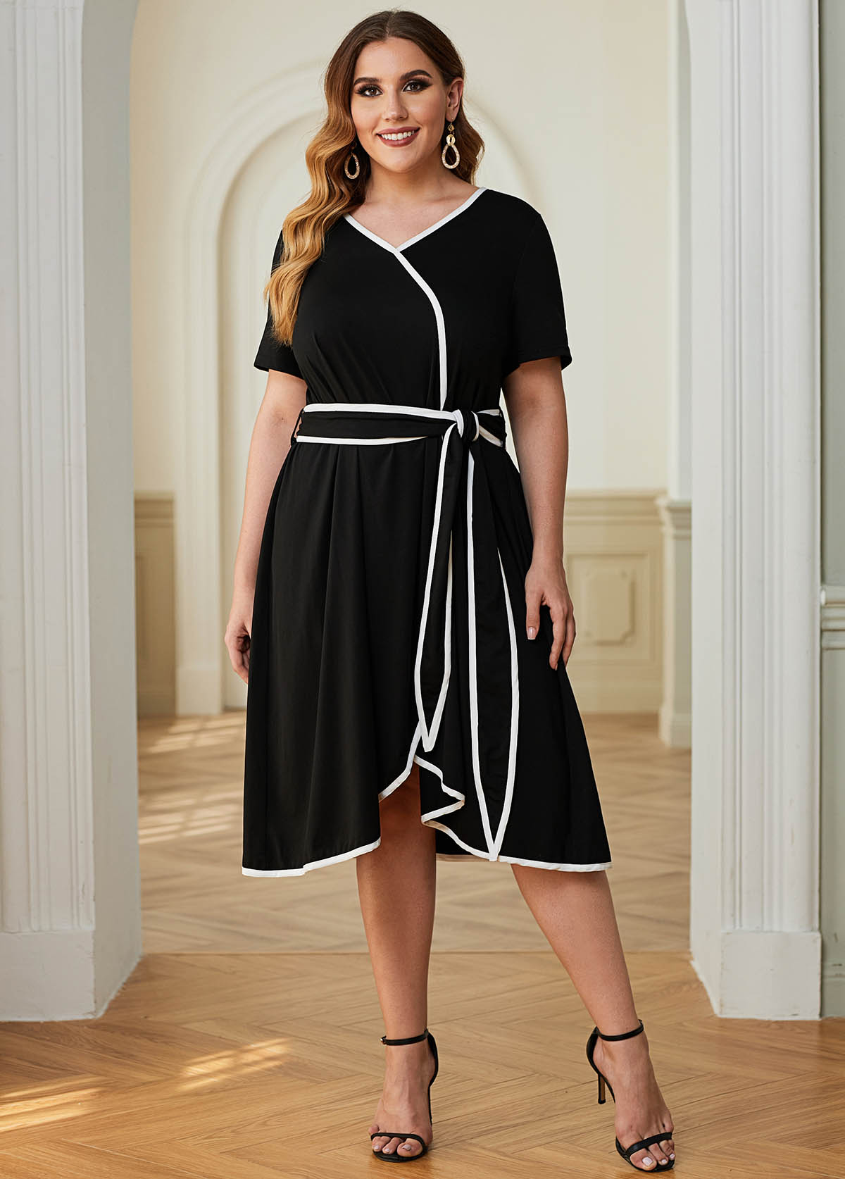 ROTITA Plus Size Belted Contrast Piping Dress