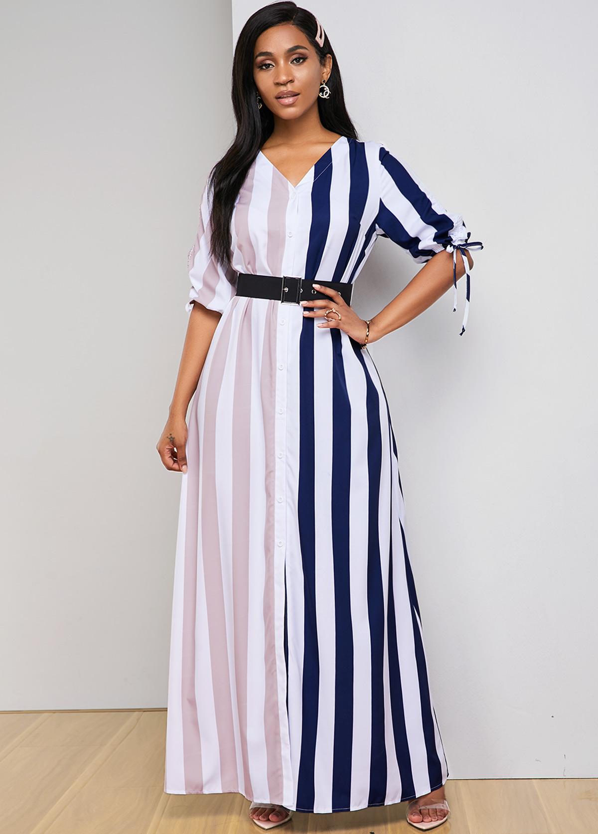 ROTITA Contrast Striped Drawstring Sleeve Maxi Dress