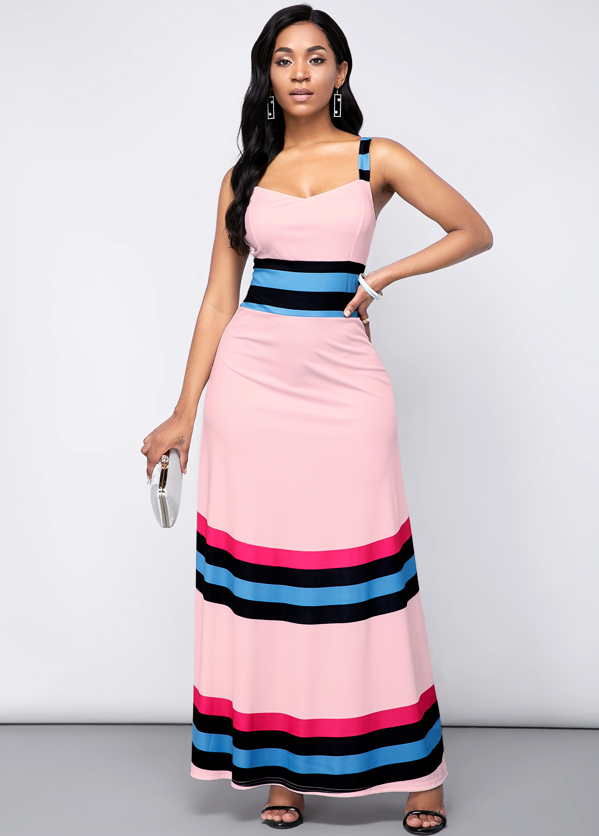 ROTITA Spaghetti Strap Rainbow Stripe High Waist Dress