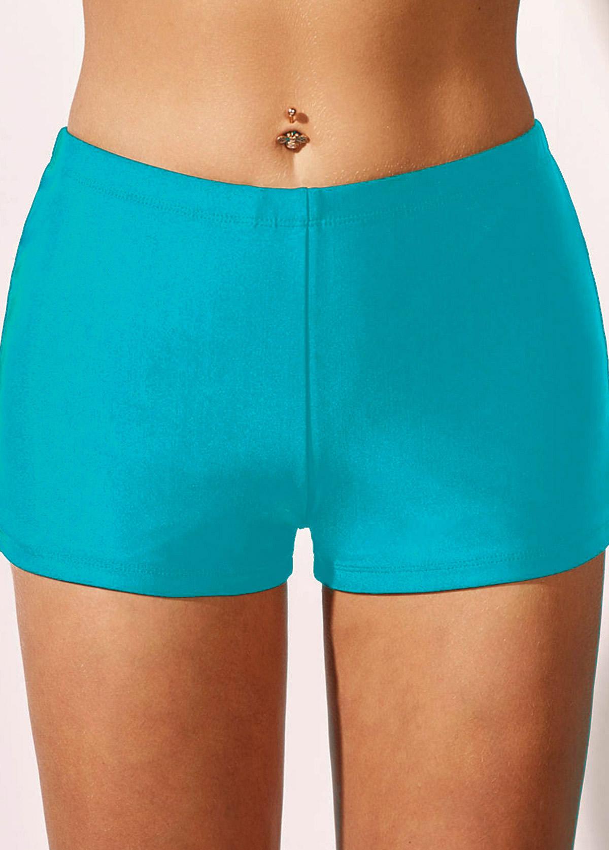 ROTITA Mid Waist Sky Blue Swimwear Shorts