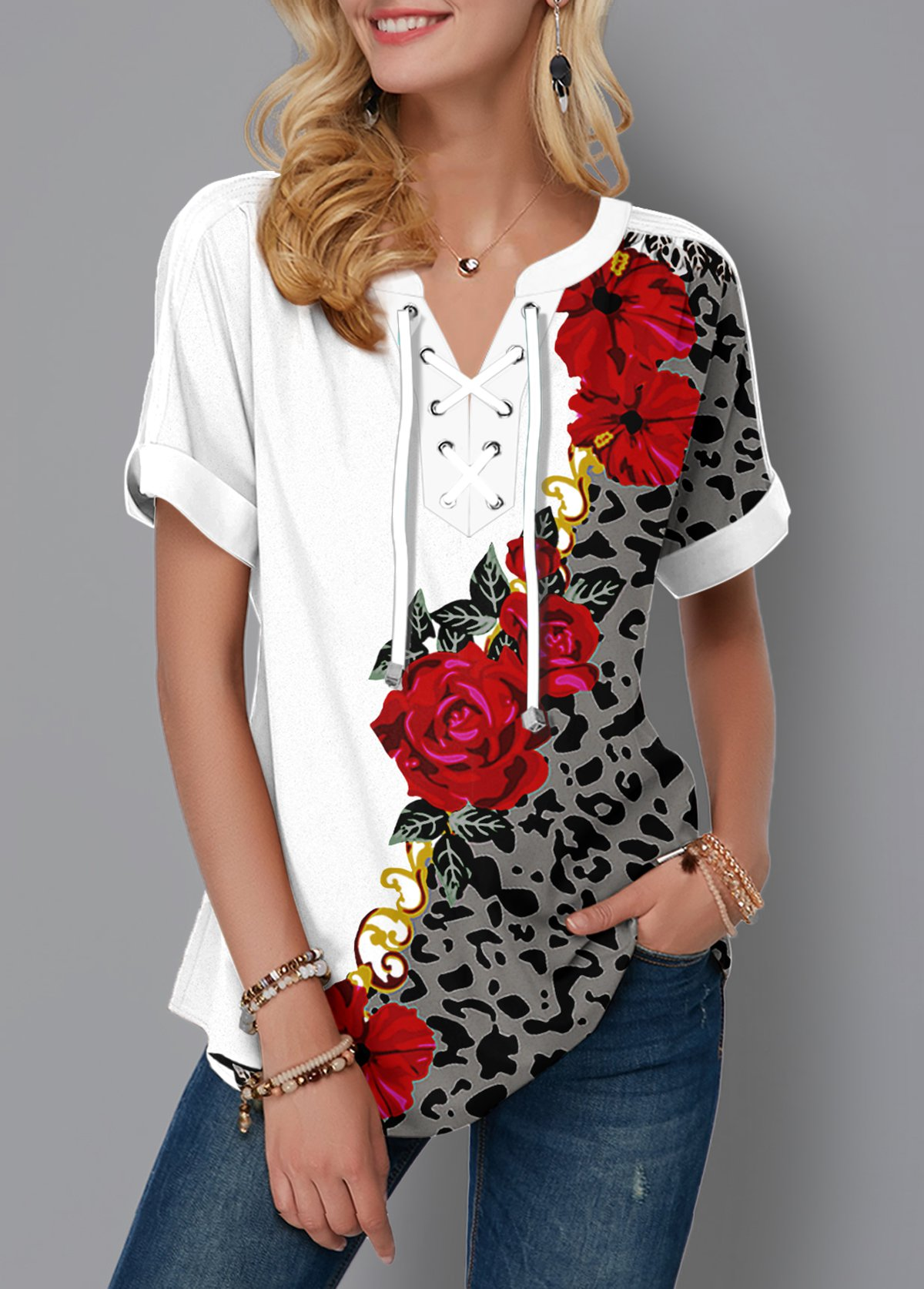 ROTITA Lace Up Leopard and Flower Print Blouse