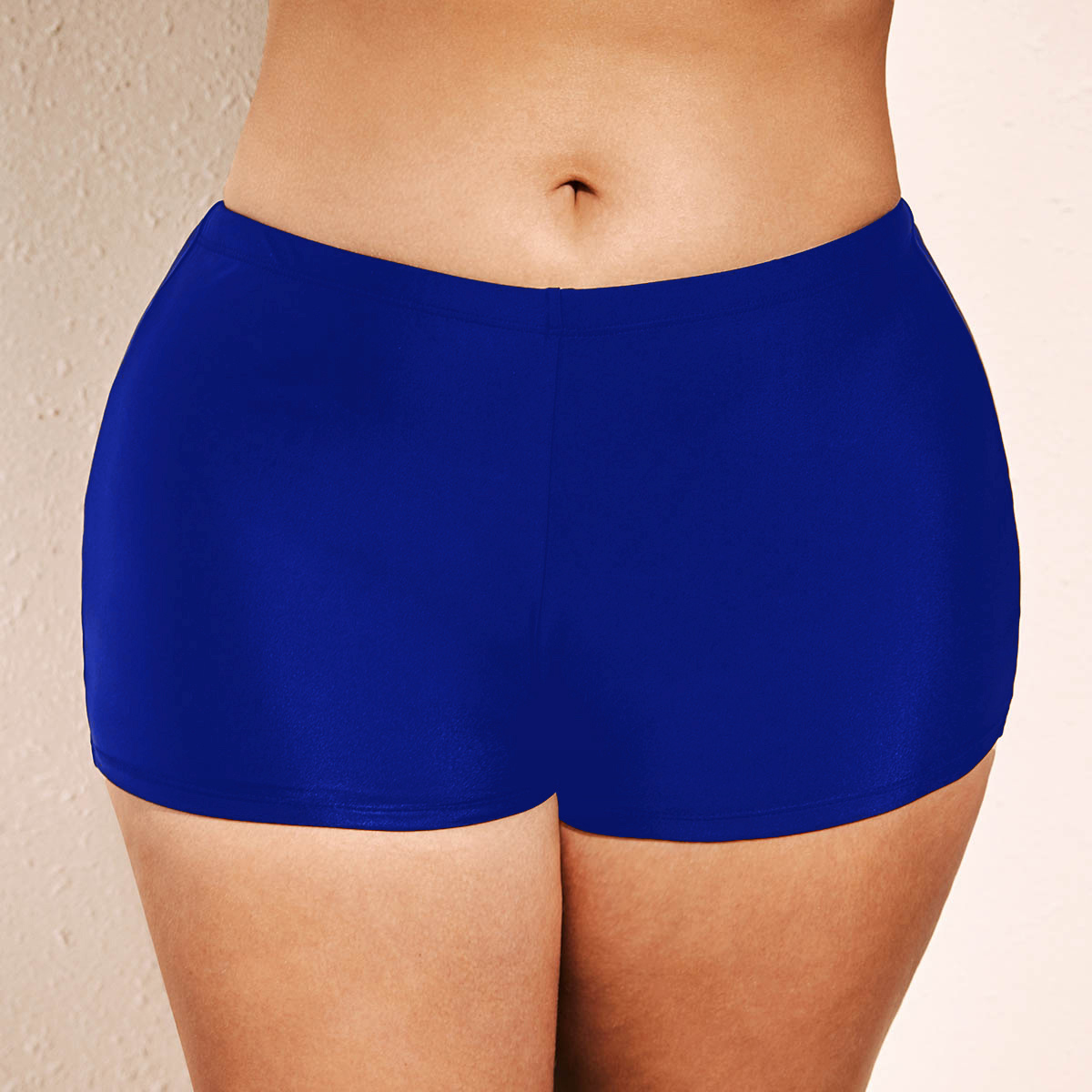 ROTITA Plus Size Blue Mid Waist Swimwear Shorts