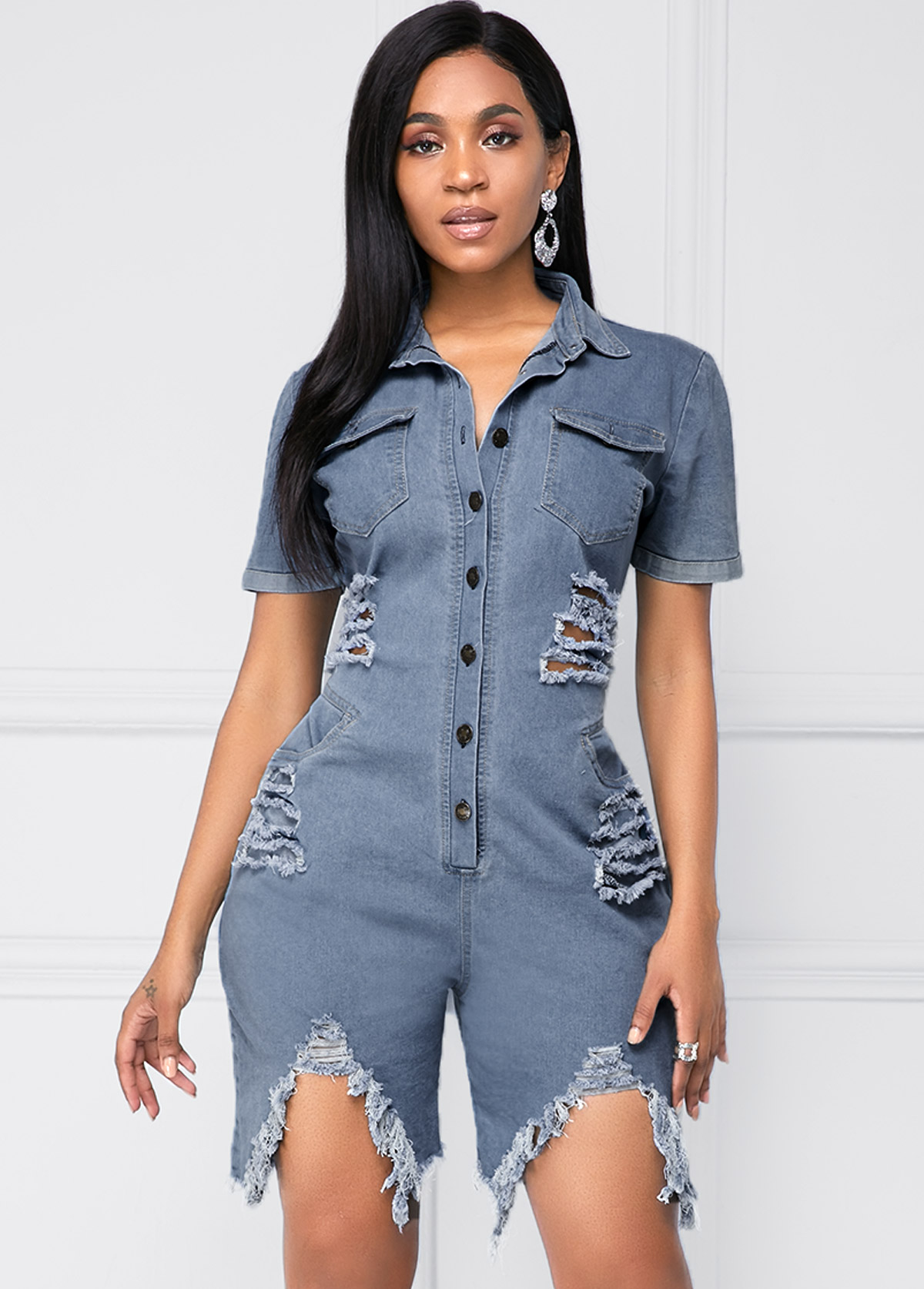 Shredded Turndown Collar Chest Pocket Button Up Denim Romper