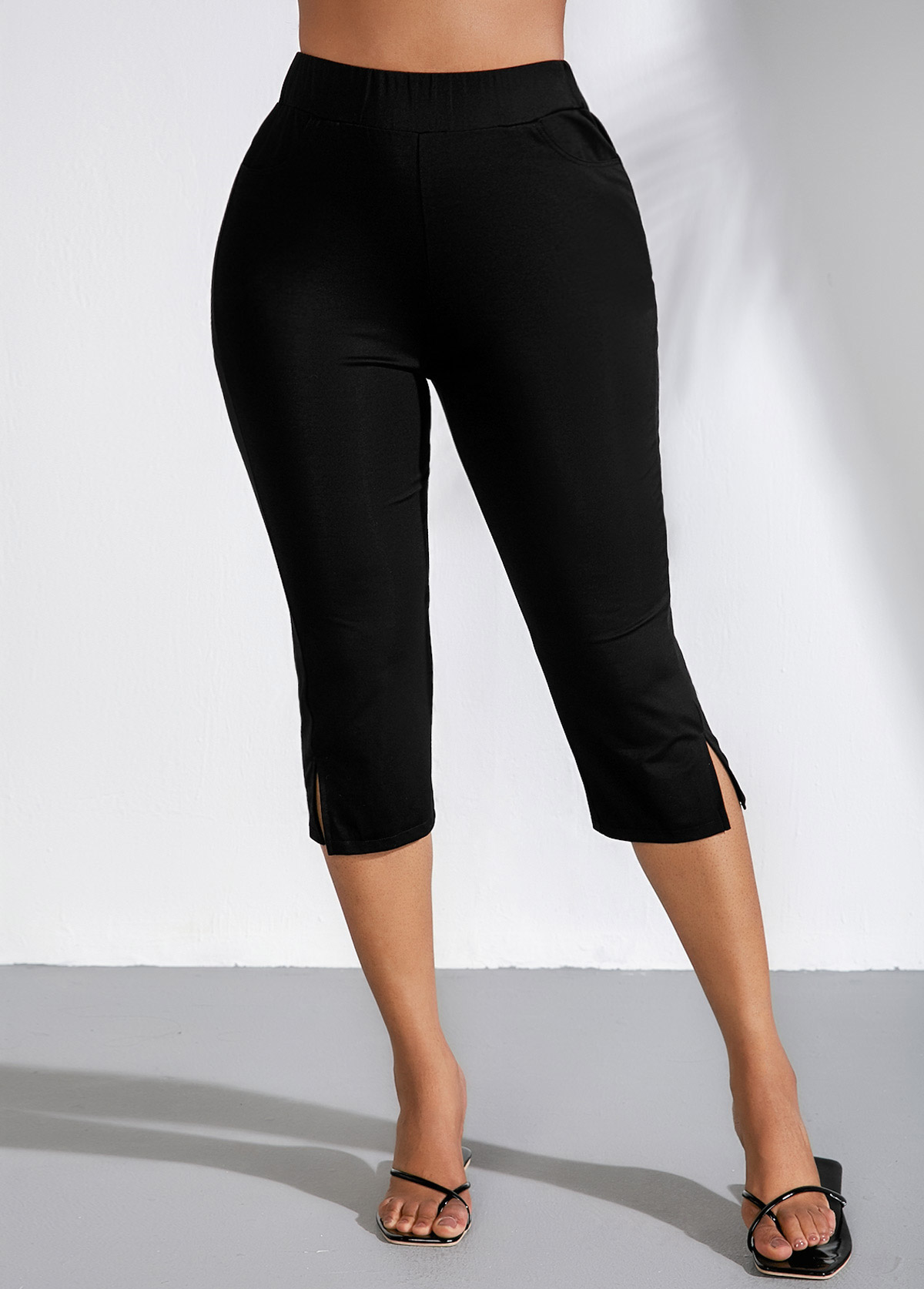ROTITA Black High Waist Side Slit Cropped Pants