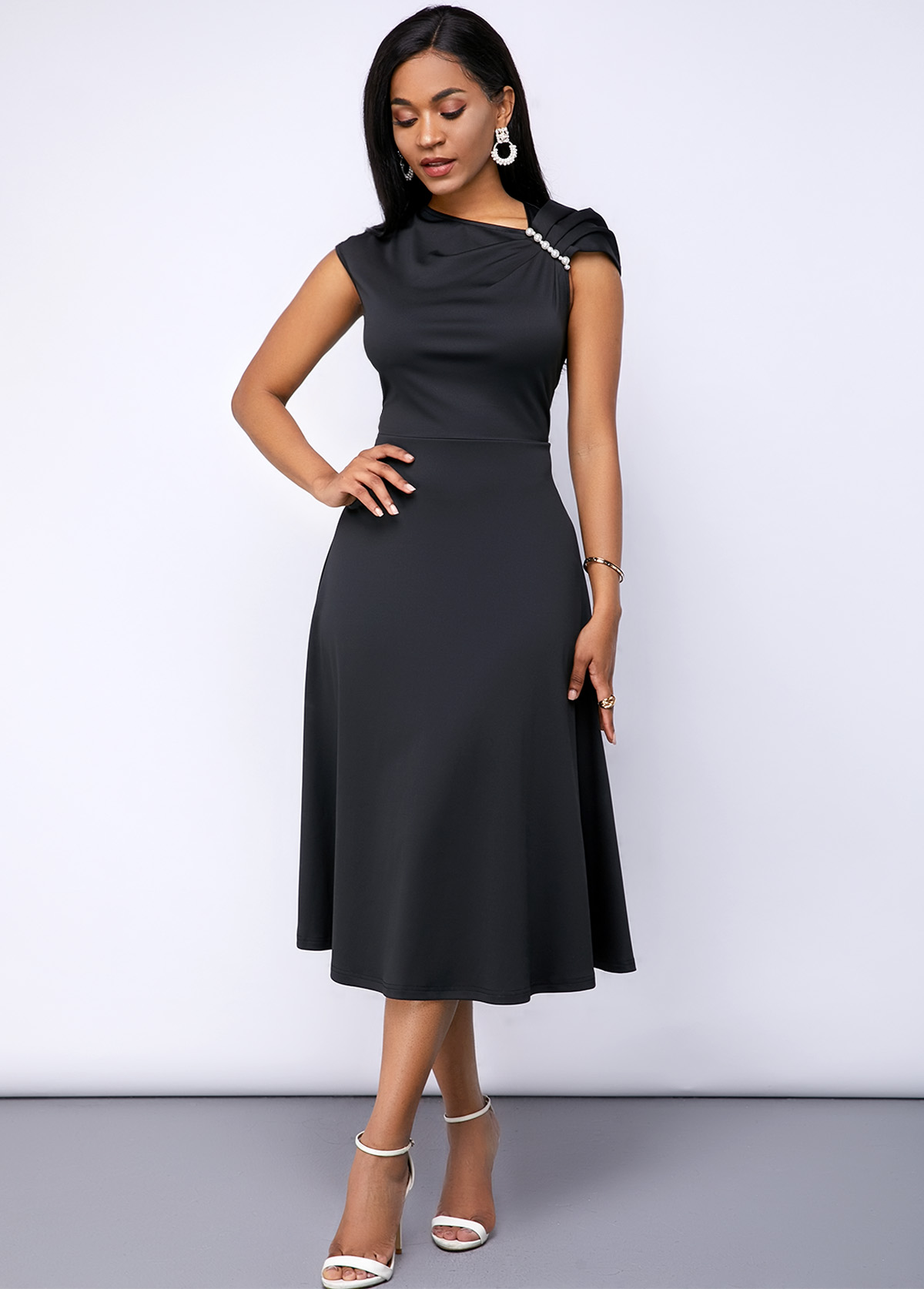 ROTITA Black Cap Sleeve Shirred Shoulder Dress