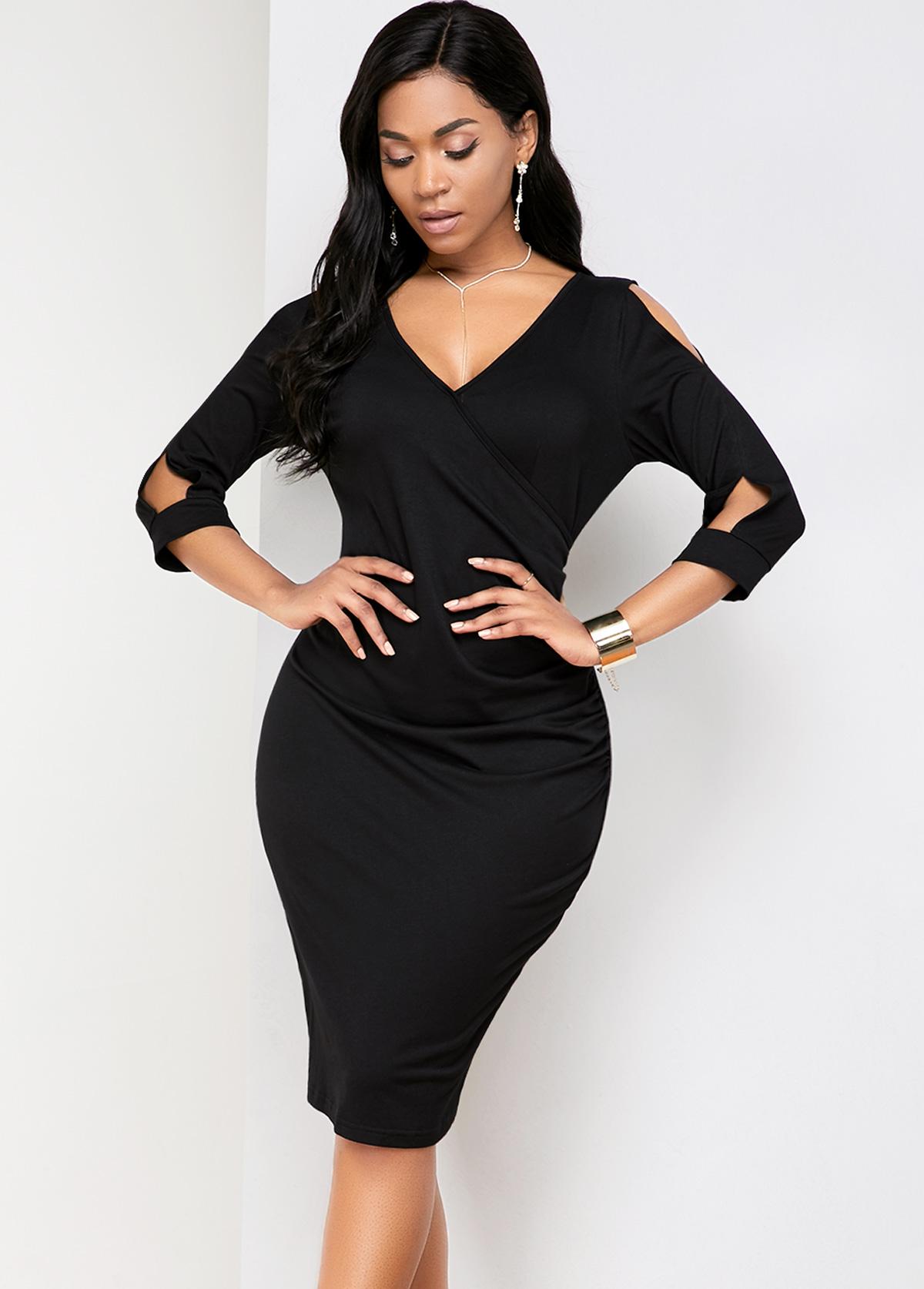 ROTITA Cold Shoulder Back Slit V Neck Comfort Dress