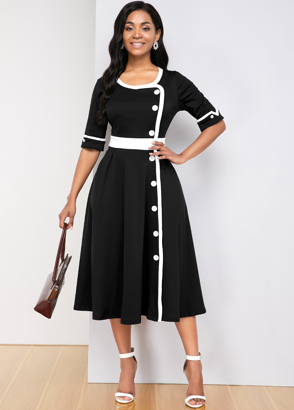 ROTITA Contrast Panel Half Sleeve Round Neck Dress