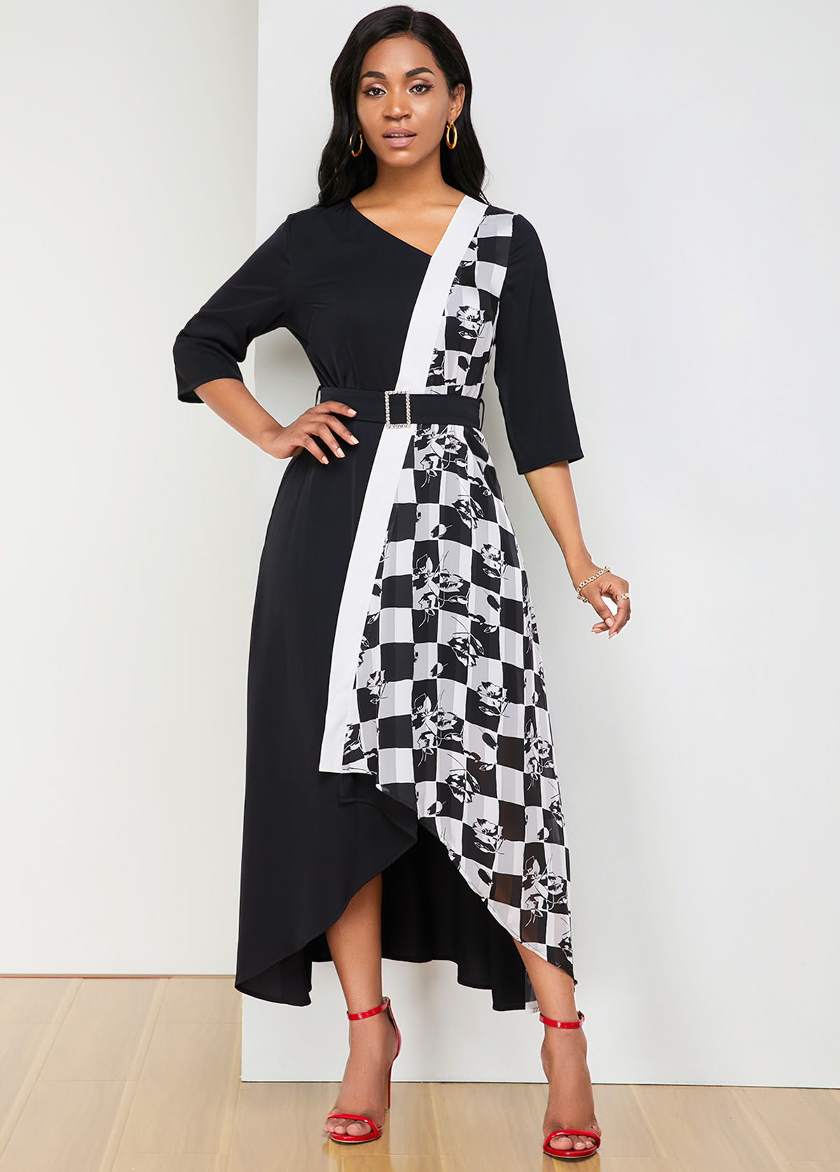 ROTITA Plaid Print Asymmetric Hem Belted Dress
