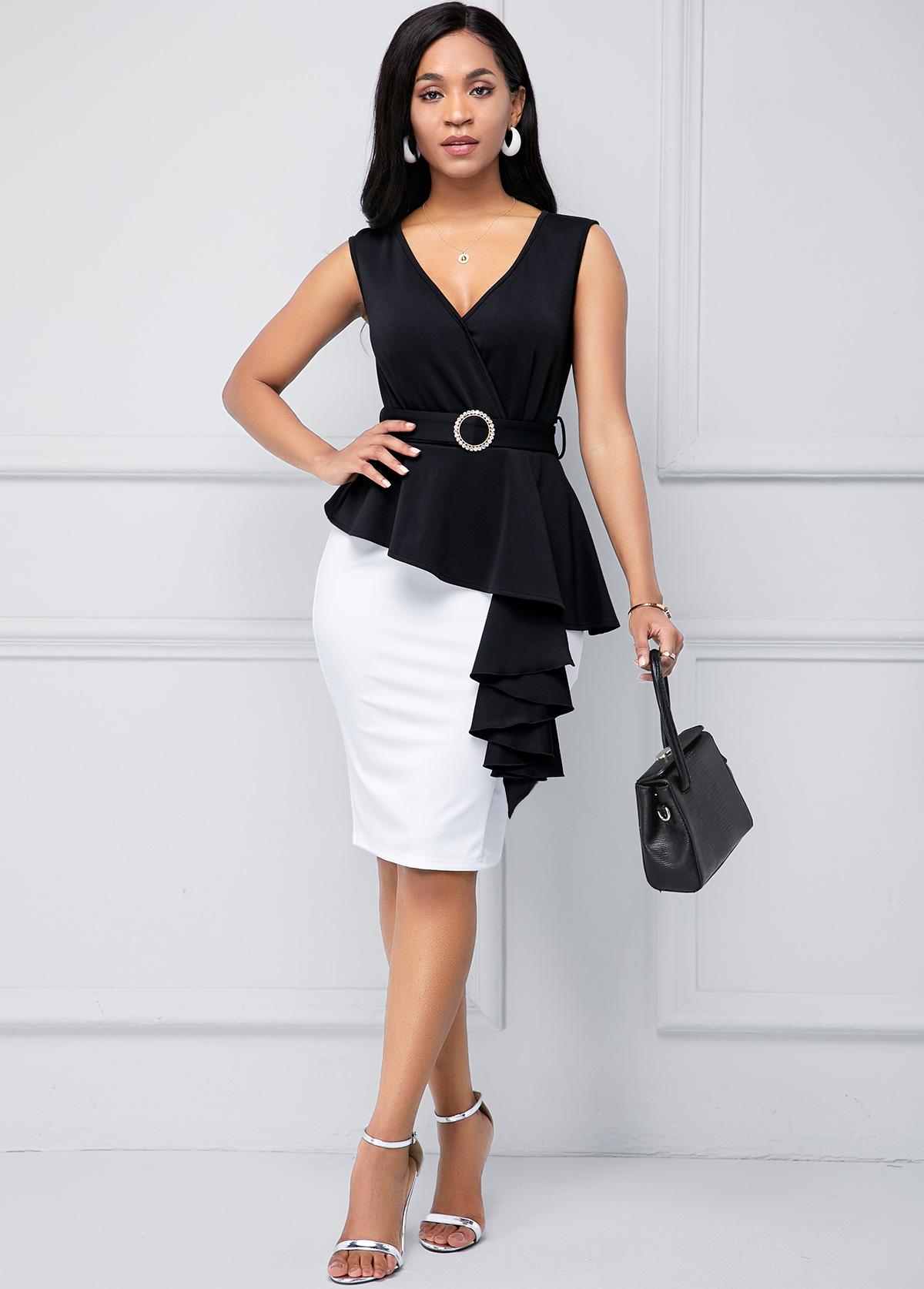 ROTITA Peplum Waist Belted Color Block Dress
