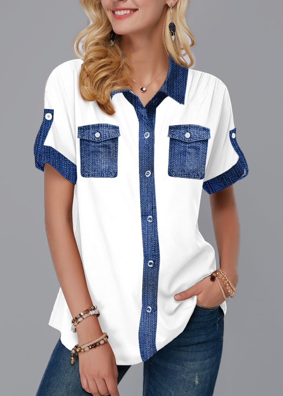 ROTITA Faux Denim Turndown Collar Button Up Blouse