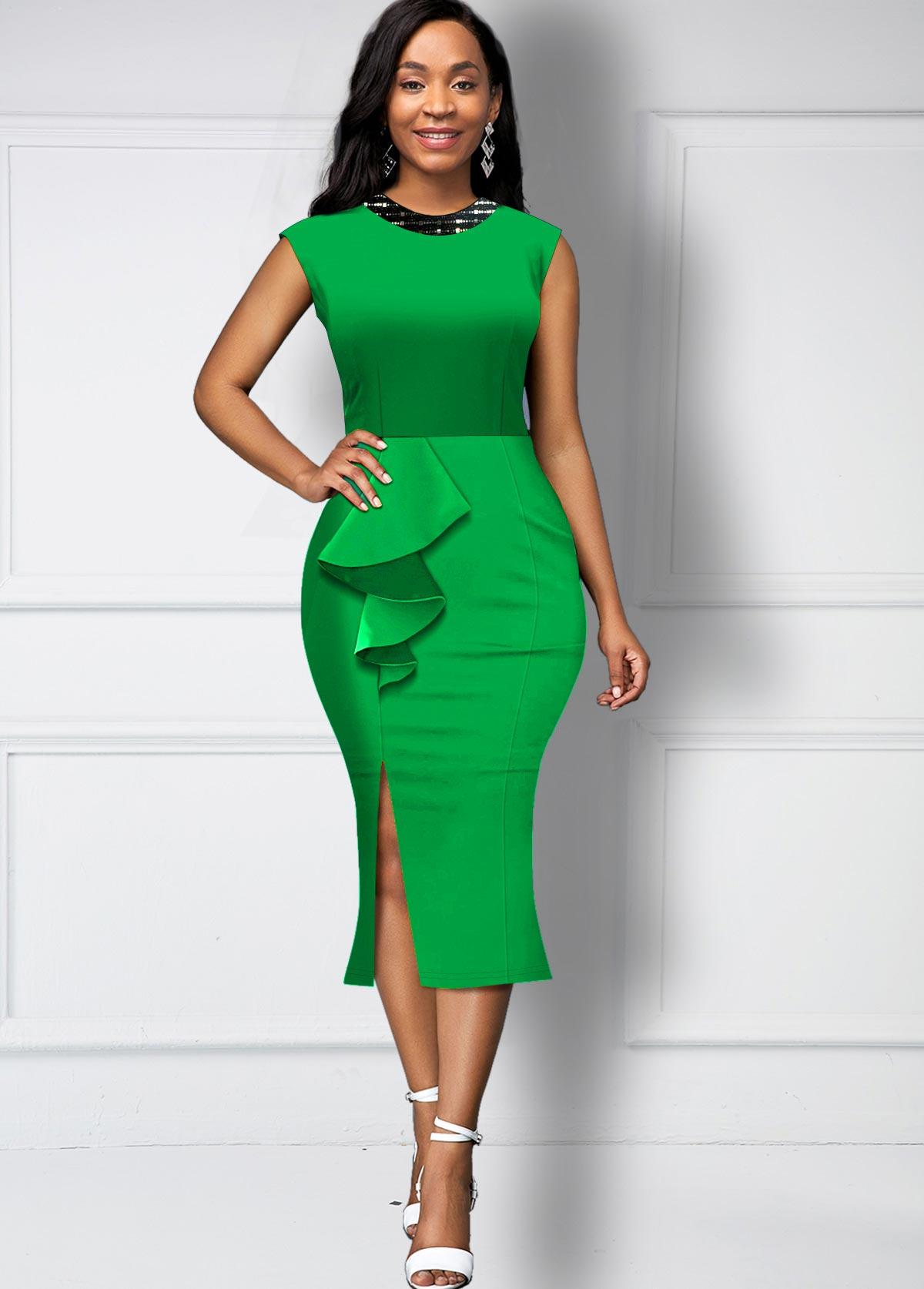 ROTITA Ruffle Trim Side Slit Sequin Neck Dress