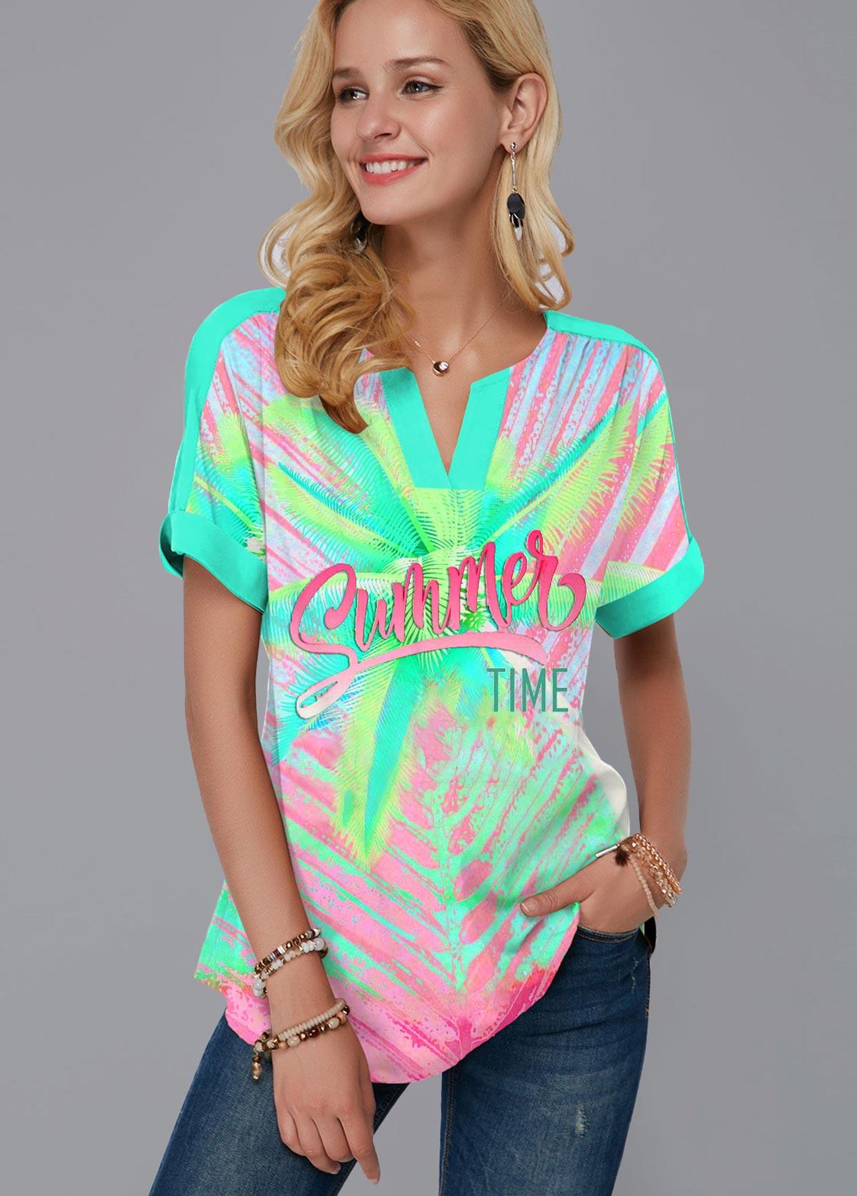 ROTITA Printed Short Sleeve Rainbow Color T Shirt