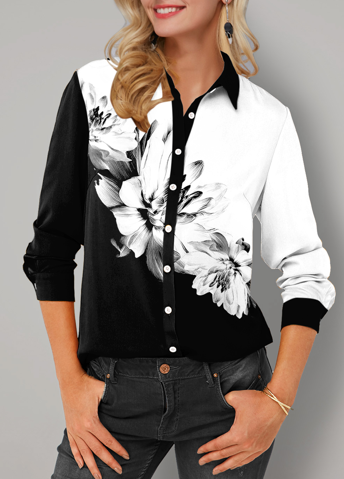 ROTITA Floral Print Turndown Collar Button Up Blouse