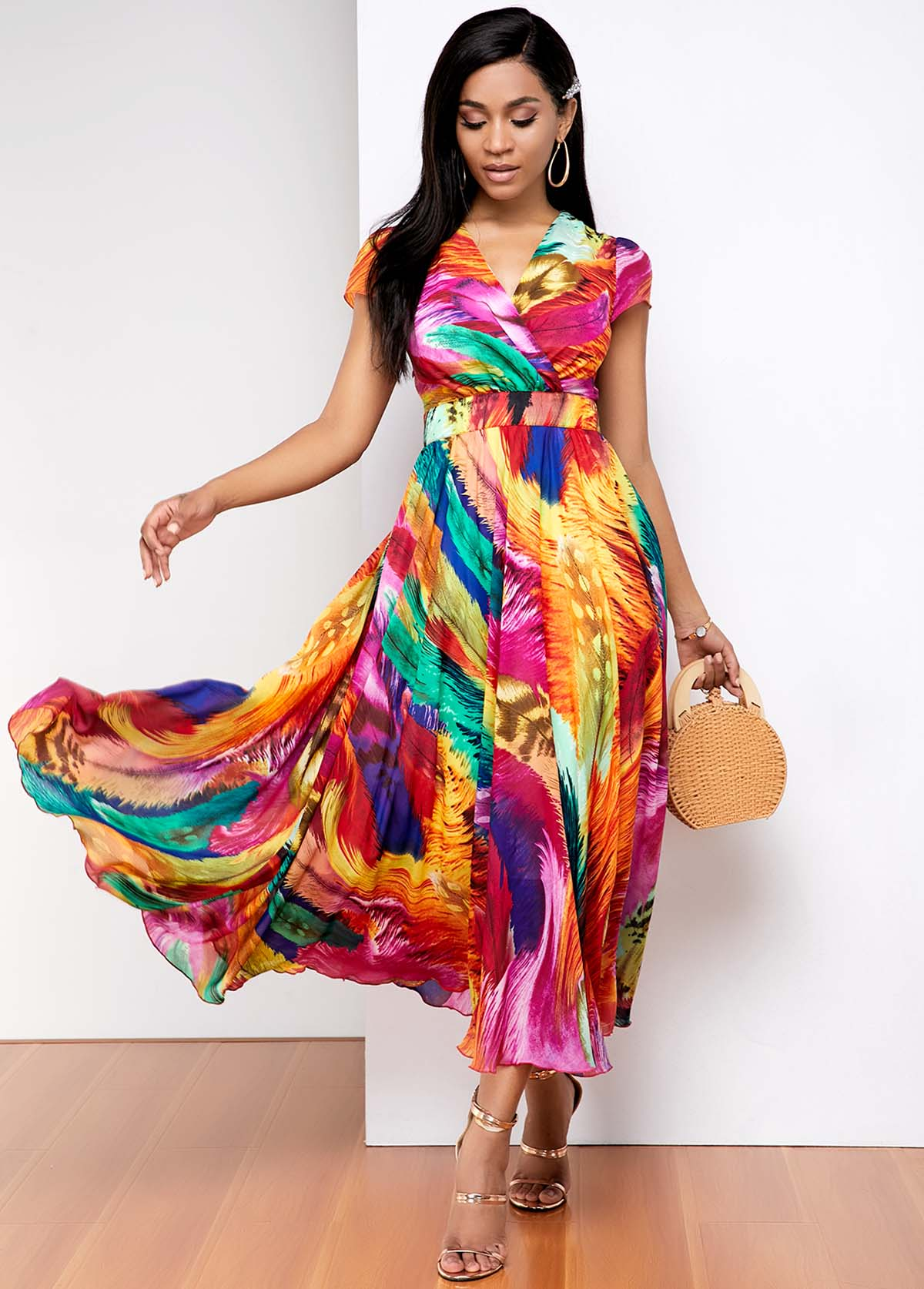 ROTITA Short Sleeve Rainbow gradient print Dress