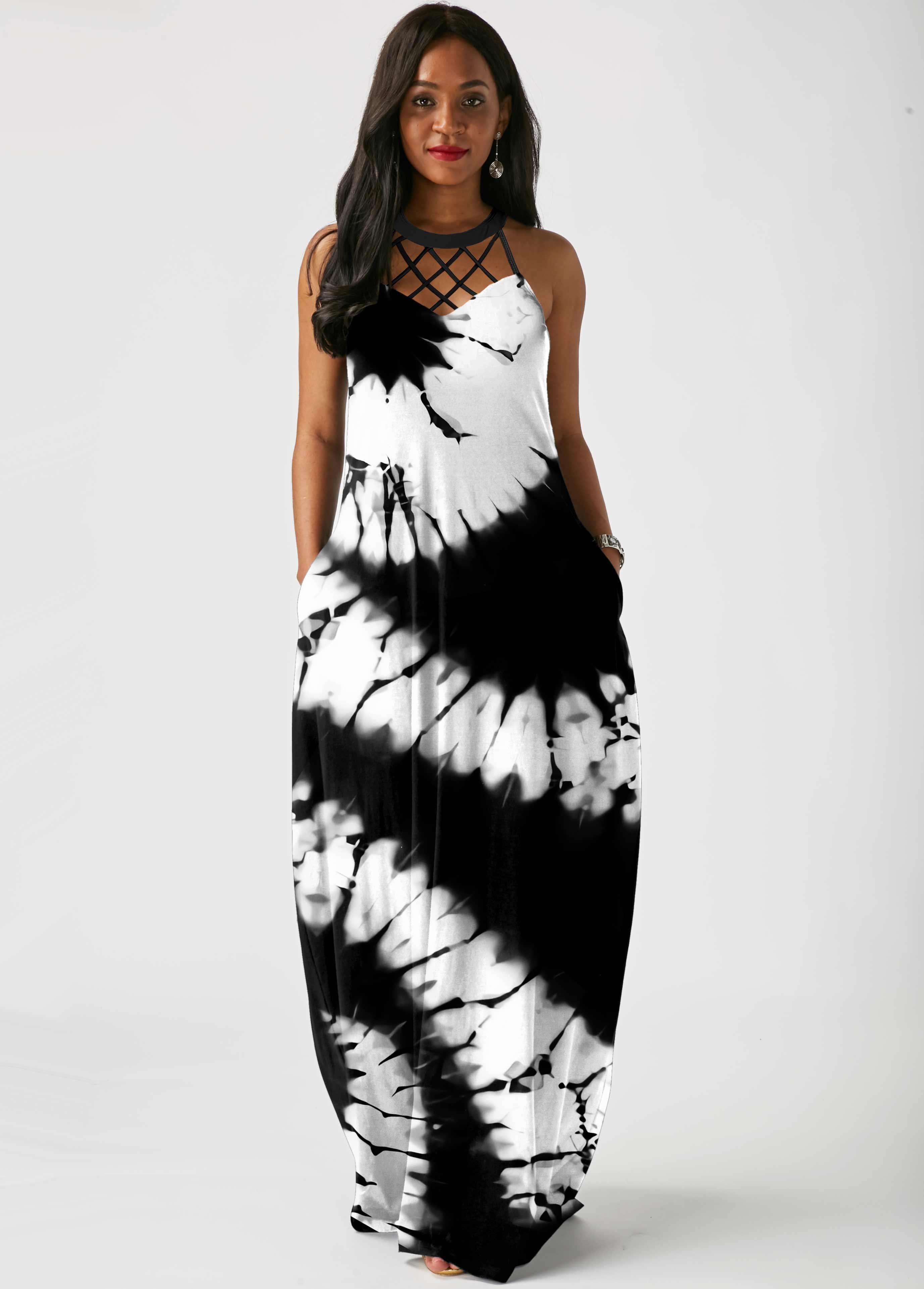 ROTITA Tie Dye Print Lattice Front Side Pocket Maxi Dress