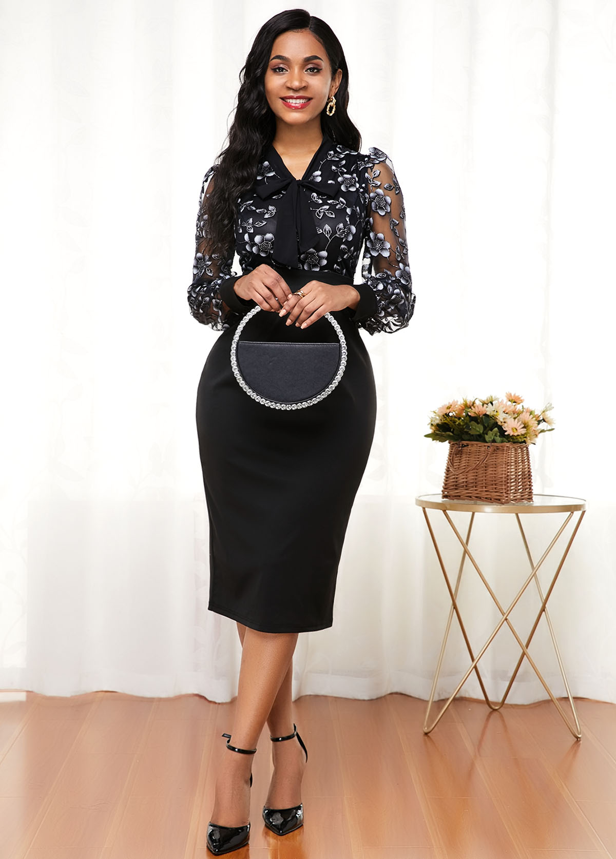 ROTITA Long Sleeve Tie Neck Lace Panel Dress