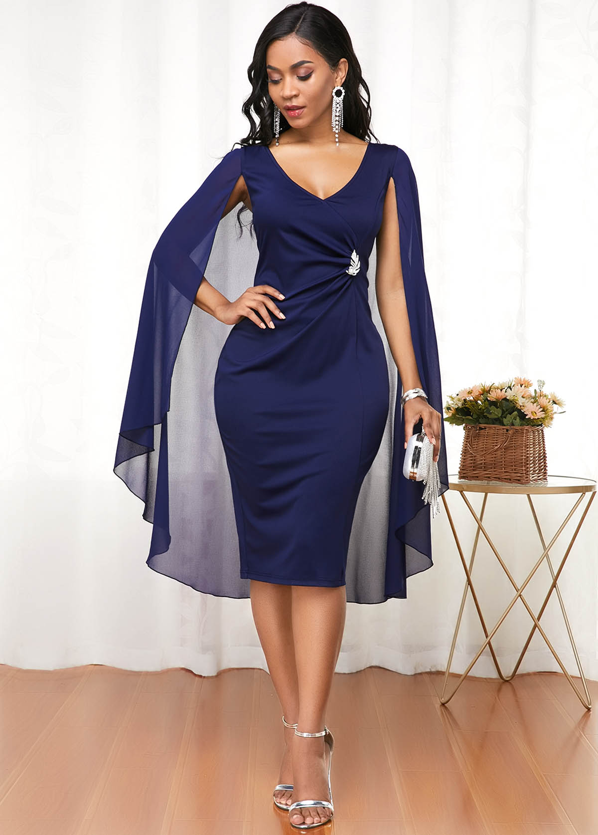 ROTITA Cape Shoulder Navy Blue V Neck Dress