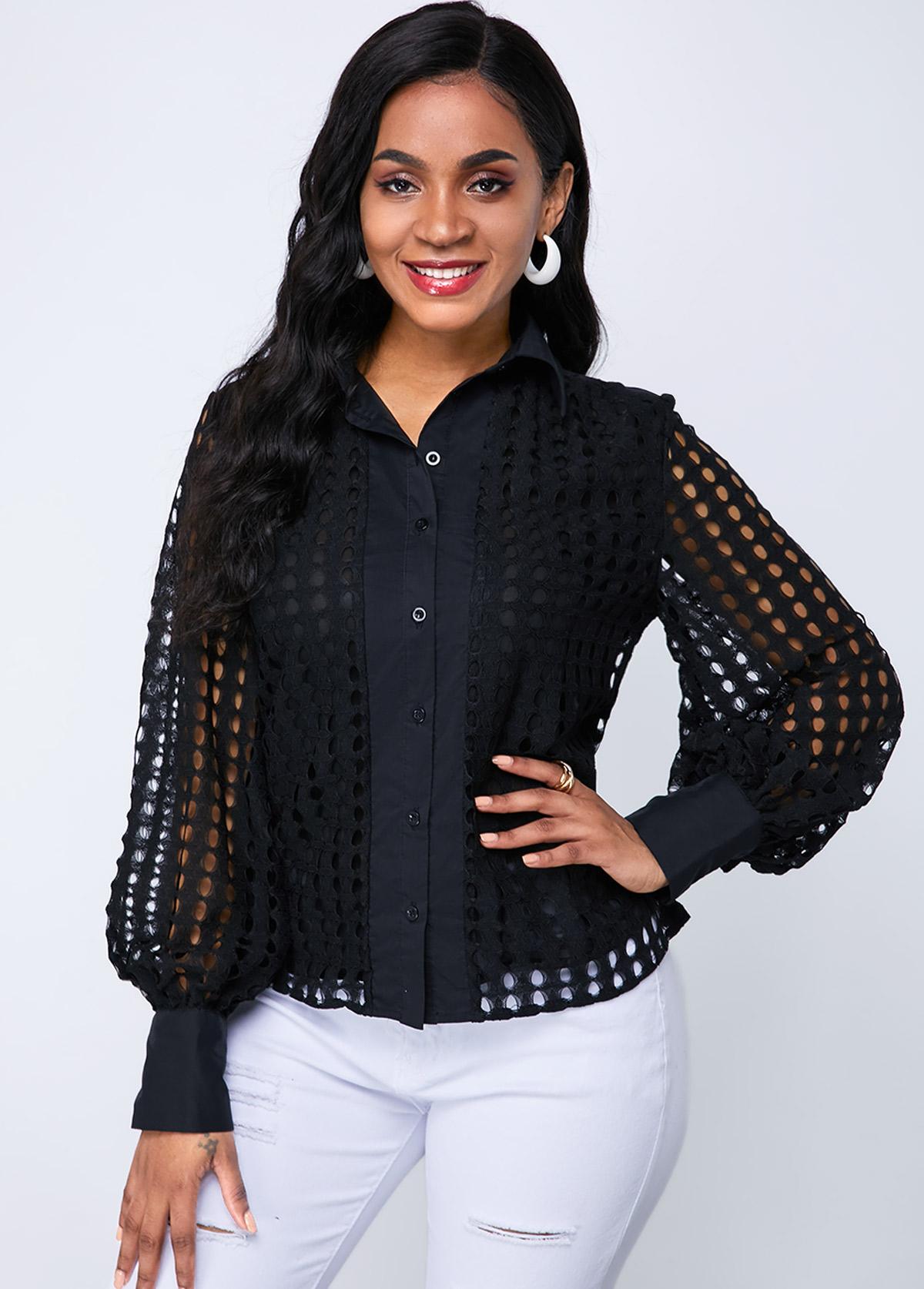 ROTITA Button Up Lantern Sleeve Lace Blouse