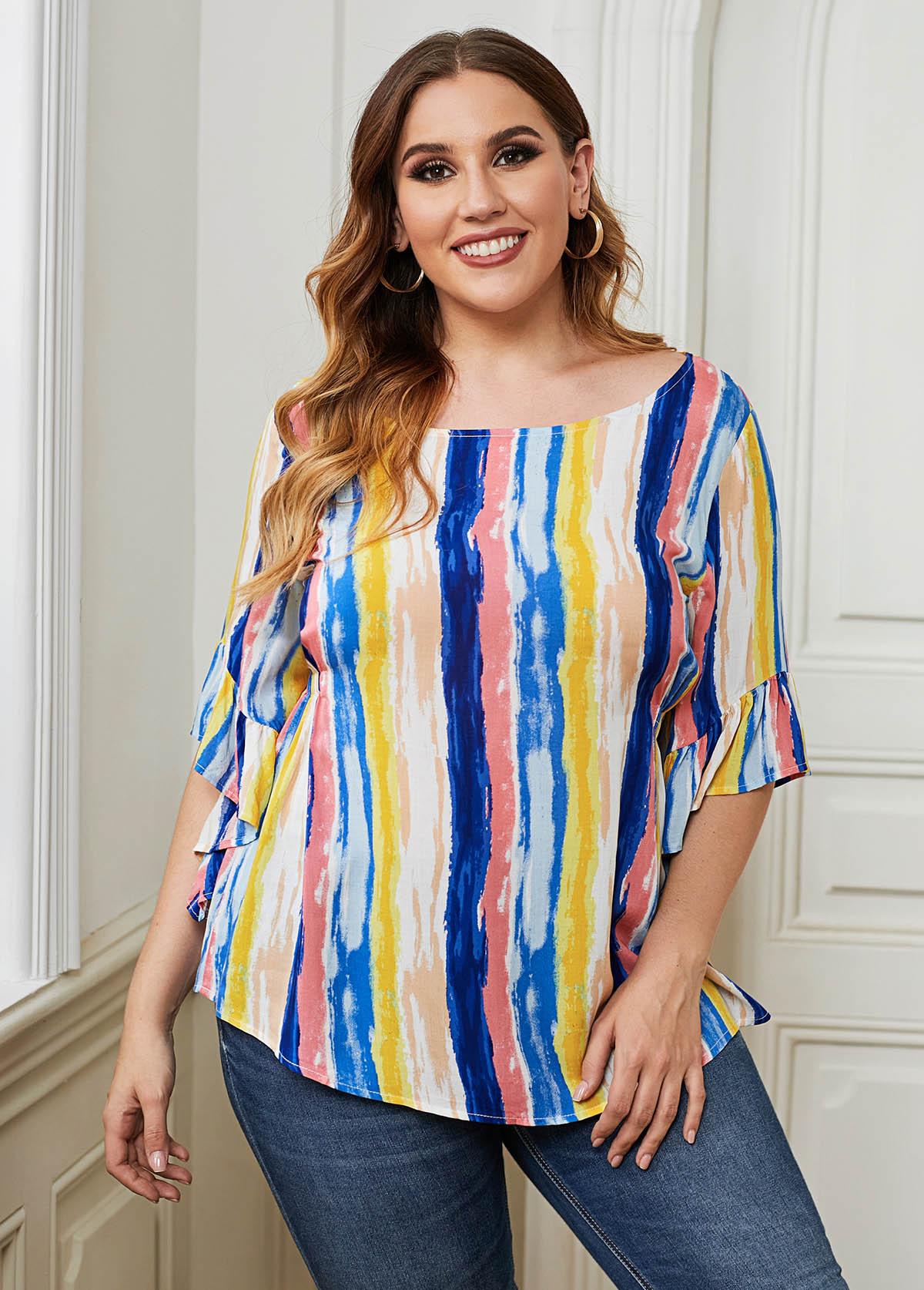 Plus Size Striped Half Sleeve Tie Dye T Shirt