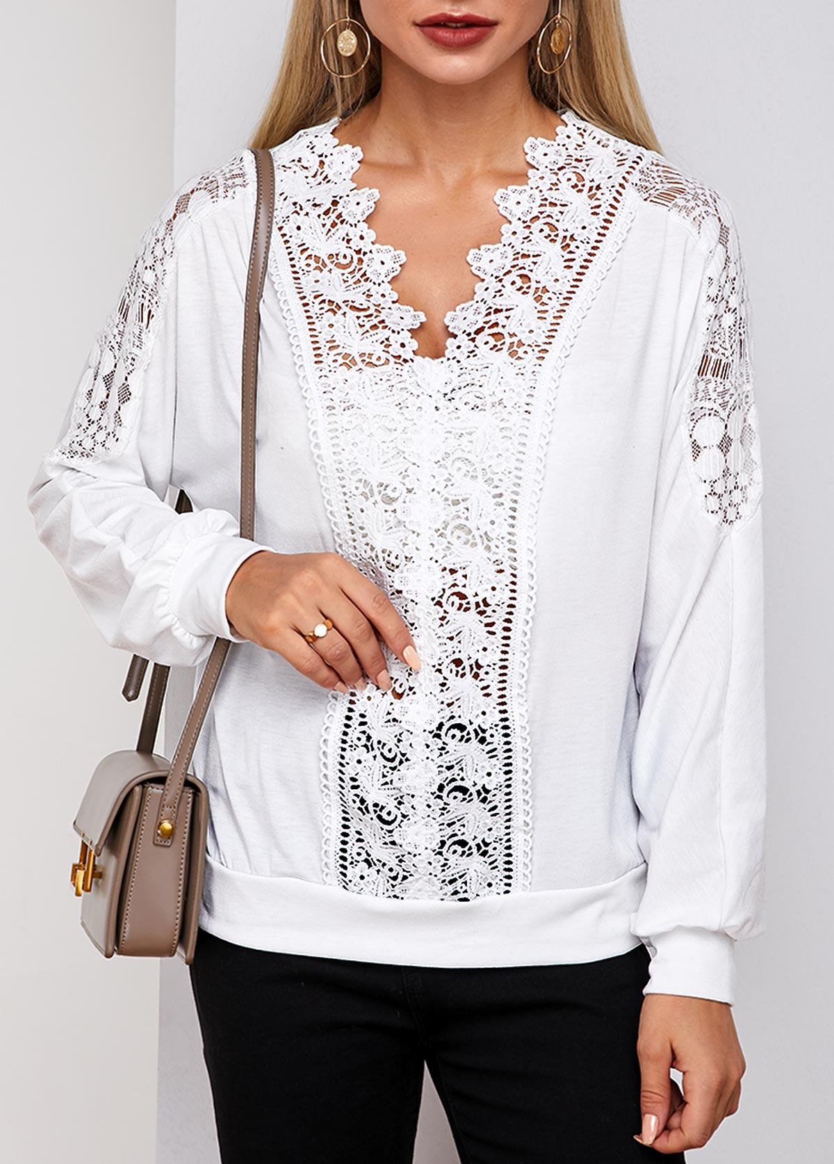 Lace Panel White Long Sleeve T Shirt